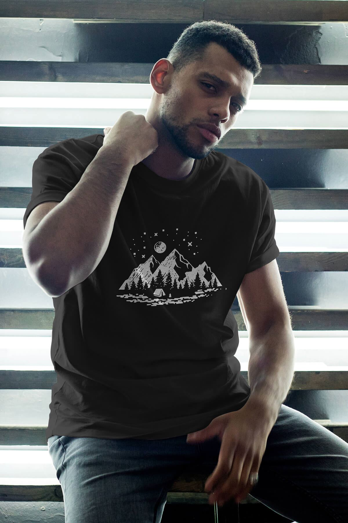 Camping Siyah Erkek Oversize Tshirt - Tişört