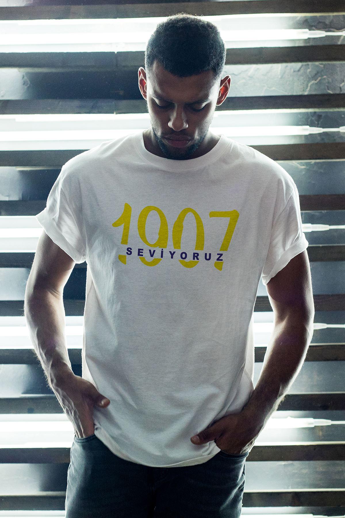 1907 FB-2 Beyaz Erkek Oversize Tshirt - Tişört