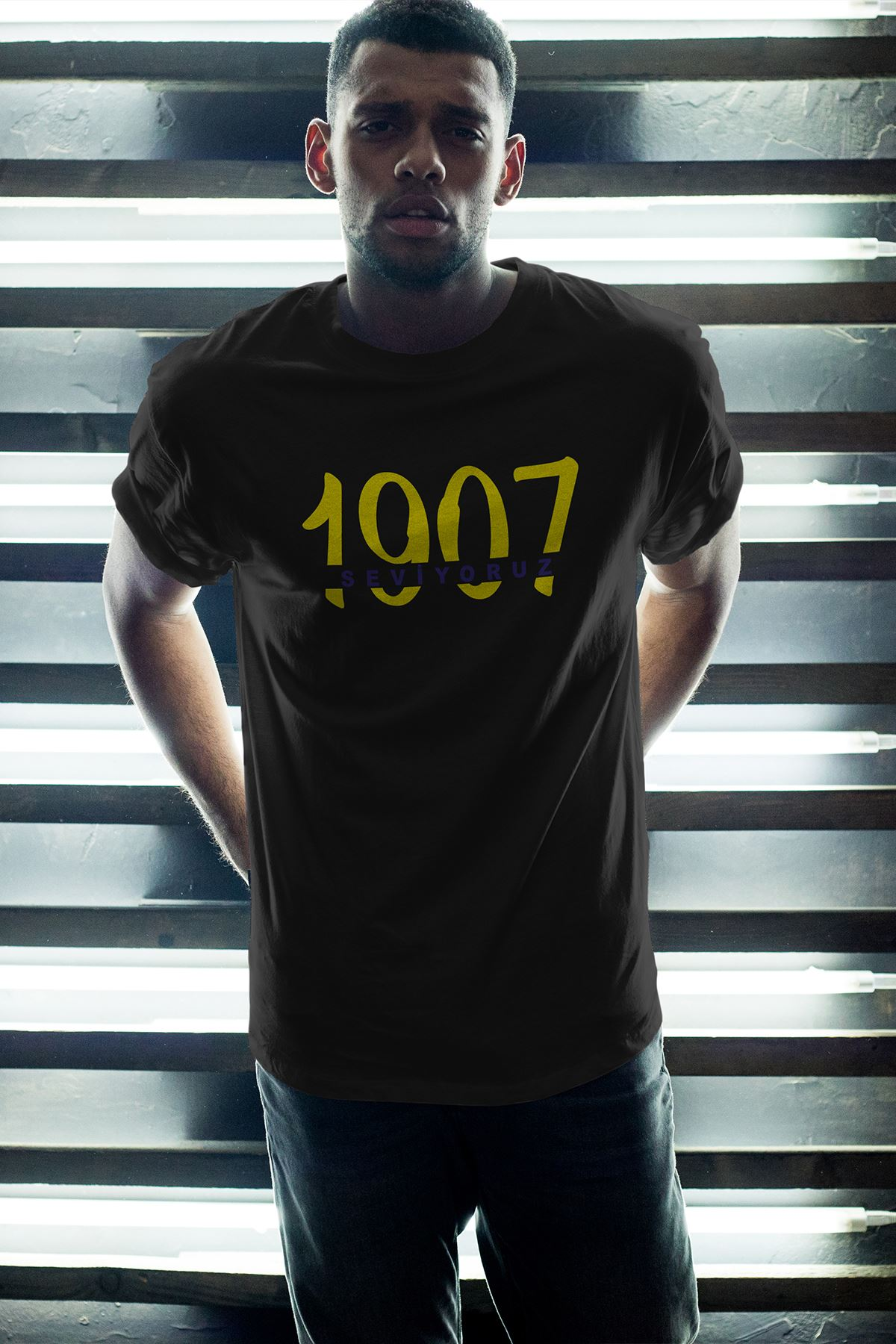 1907 FB-2 Siyah Erkek Oversize Tshirt - Tişört