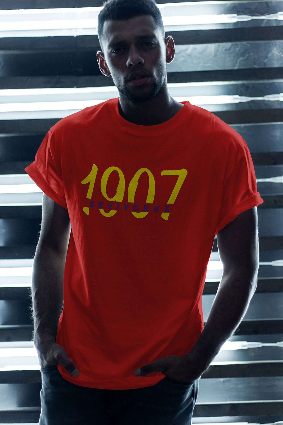 1907 FB-2 Kırmızı Erkek Oversize Tshirt - Tişört