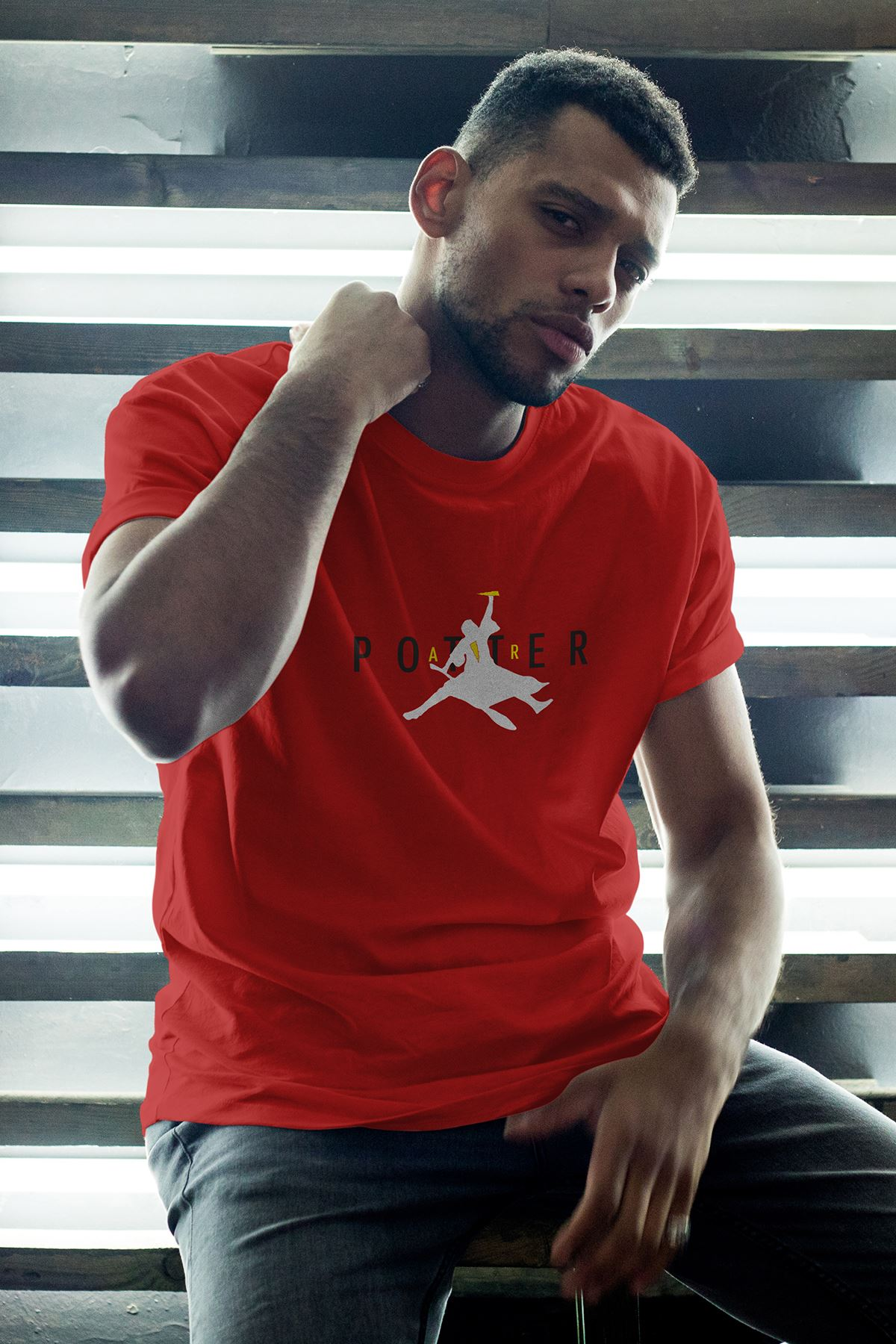 Air Potter Kırmızı Erkek Oversize Tshirt - Tişört