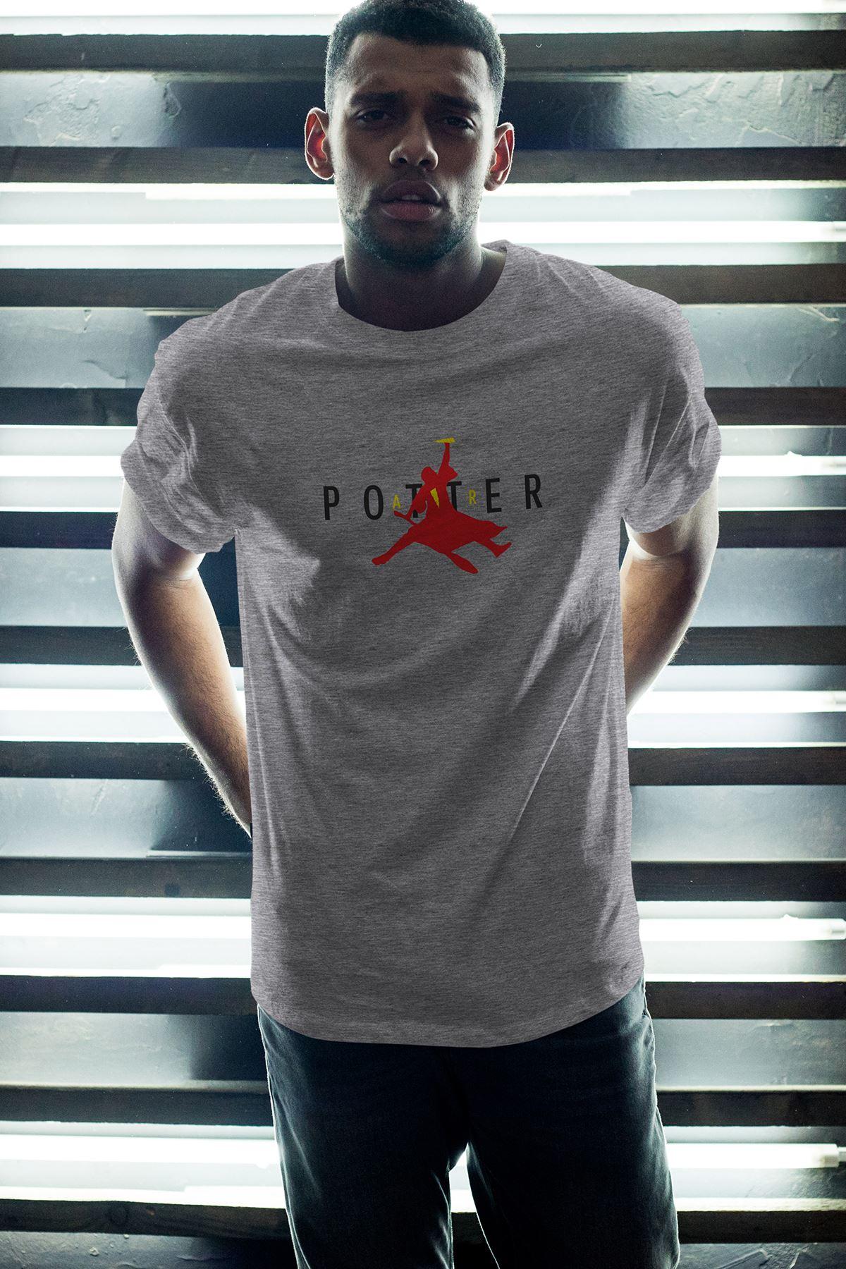 Air Potter Gri Erkek Oversize Tshirt - Tişört