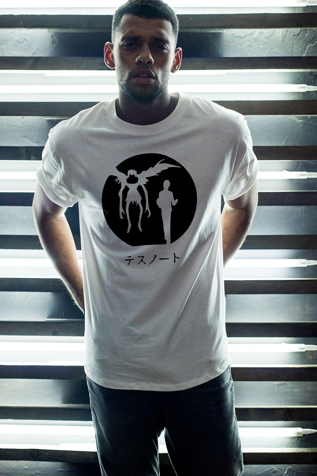 Anime Death Note 12 Beyaz Erkek Oversize Tshirt - Tişört