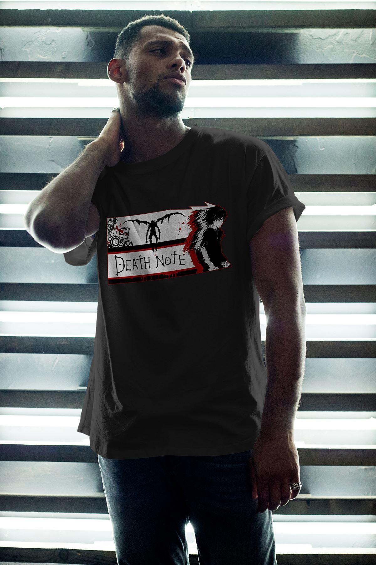 Anime Death Note 04 Siyah Erkek Oversize Tshirt - Tişört