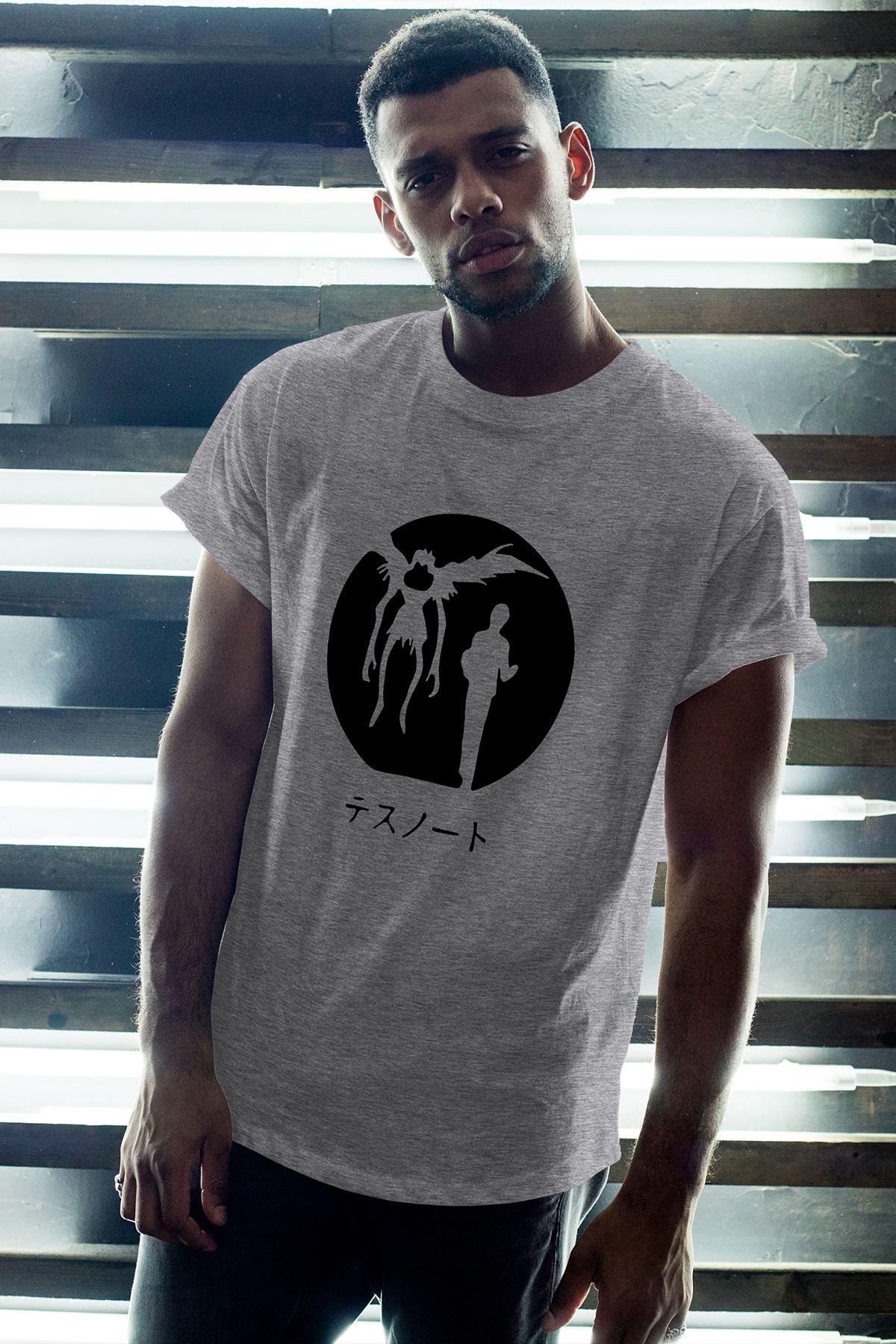 Anime Death Note 12 Gri Erkek Oversize Tshirt - Tişört