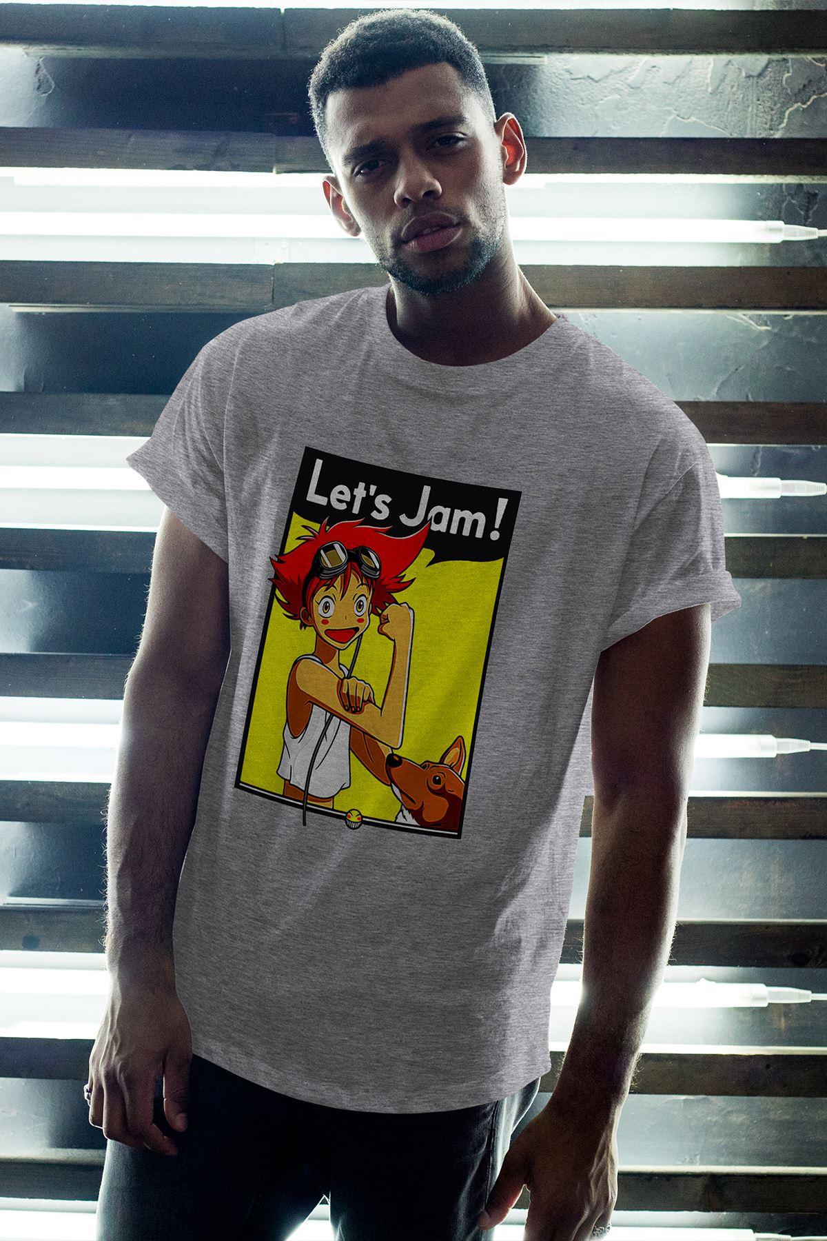 Anime Let's Jam Gri Erkek Oversize Tshirt - Tişört