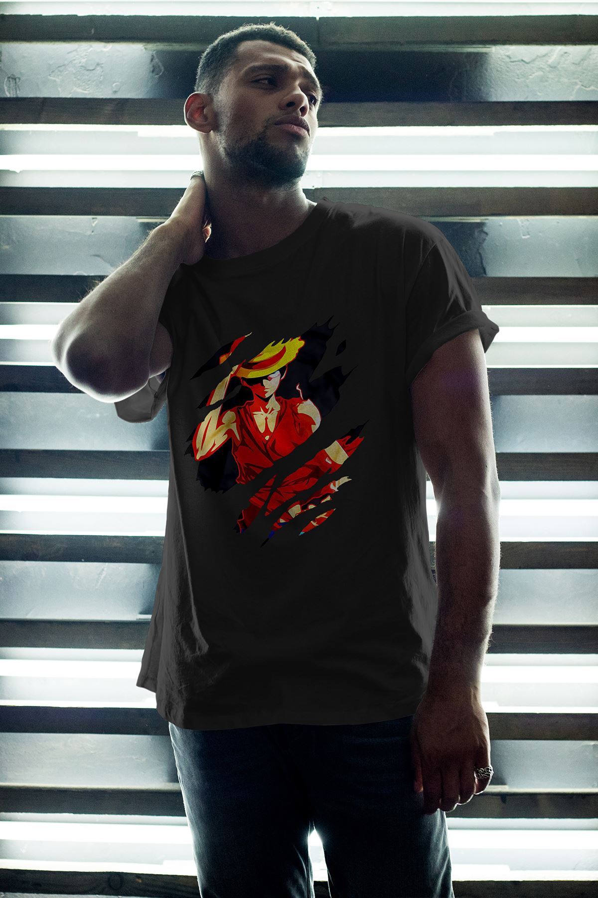 Anime Monkey 02 Siyah Erkek Oversize Tshirt - Tişört