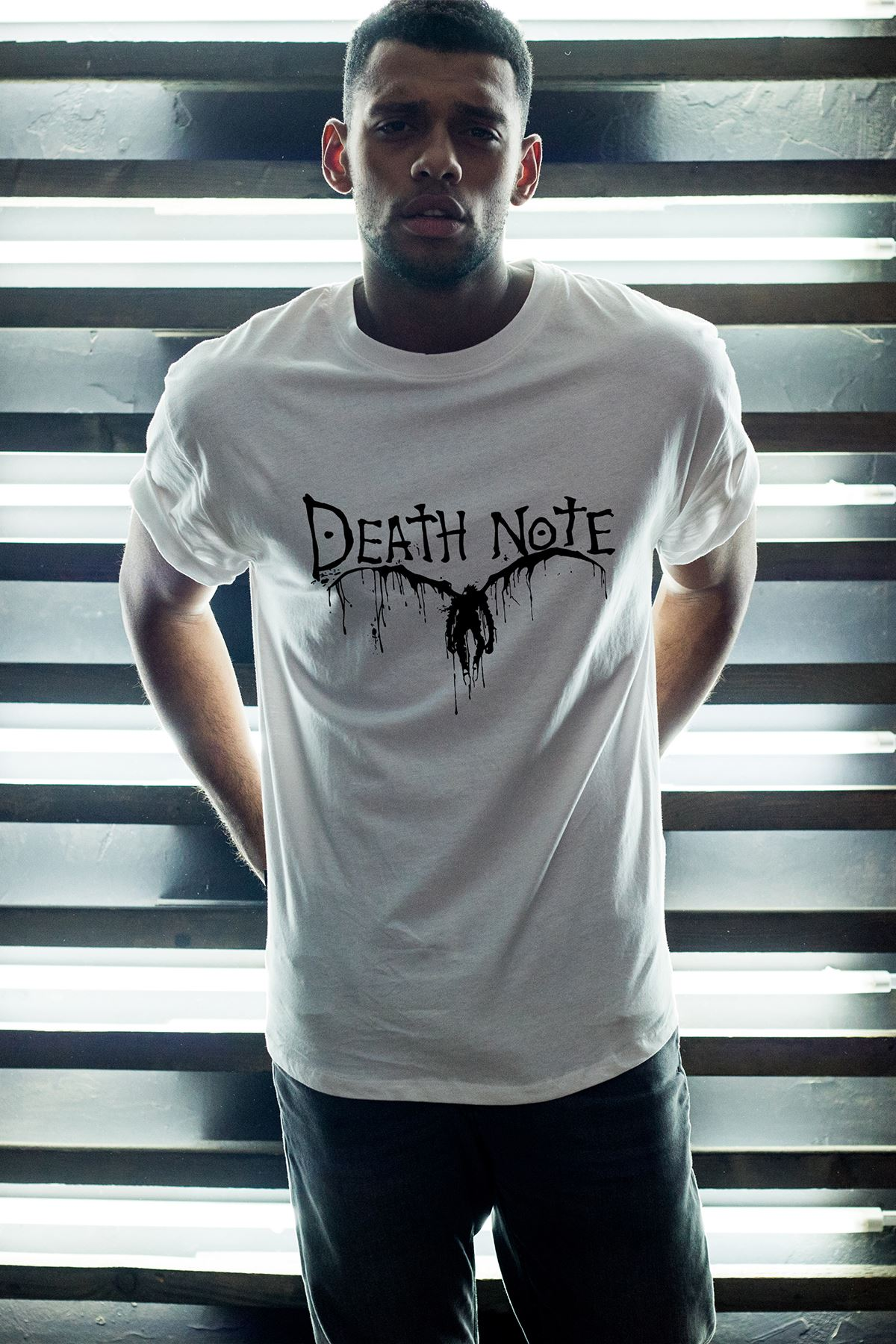 Anime Death Note 06 Beyaz Erkek Oversize Tshirt - Tişört