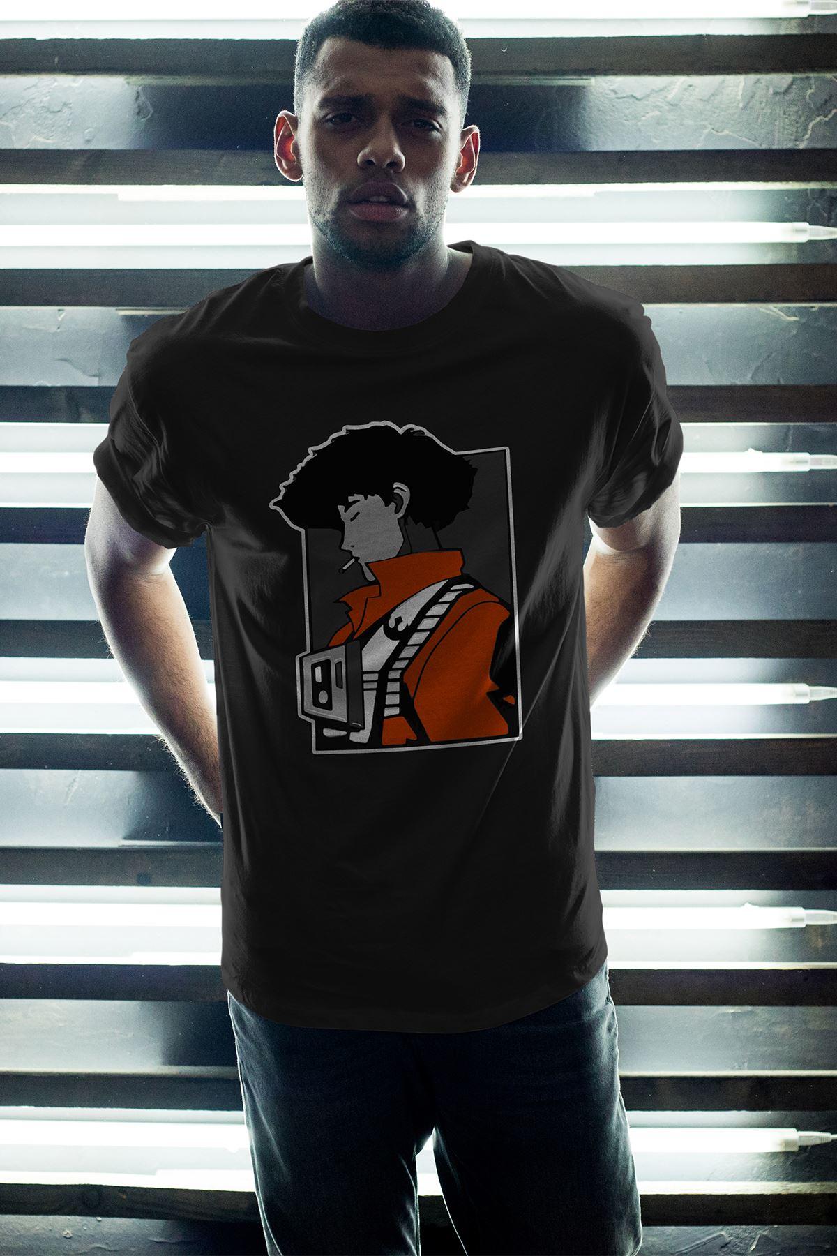 Anime Bebop Siyah Erkek Oversize Tshirt - Tişört