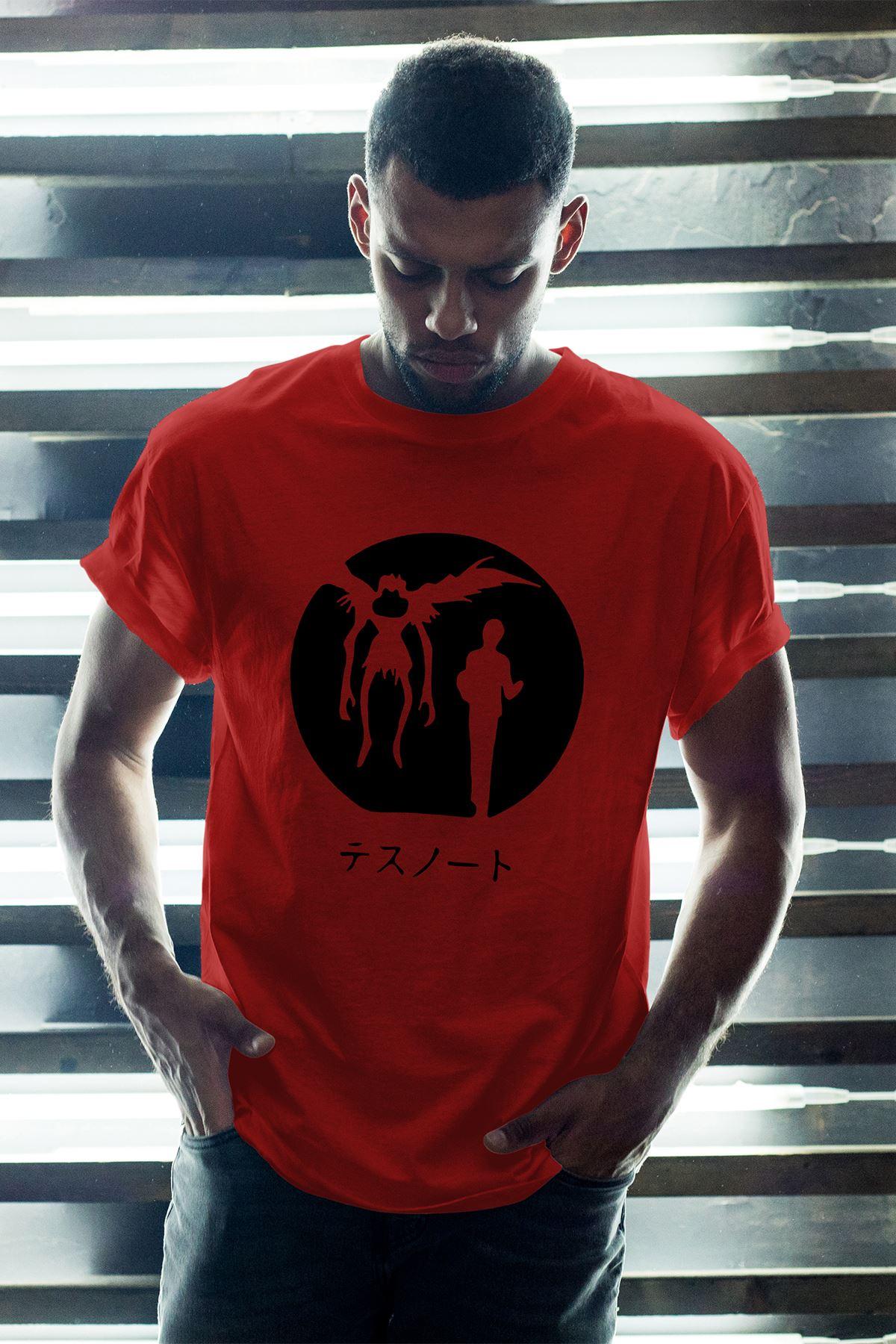Anime Death Note 12 Kırmızı Erkek Oversize Tshirt - Tişört