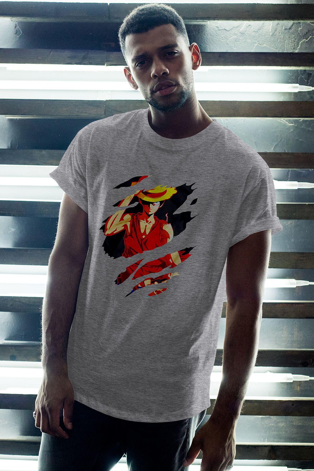 Anime Monkey 02 Gri Erkek Oversize Tshirt - Tişört