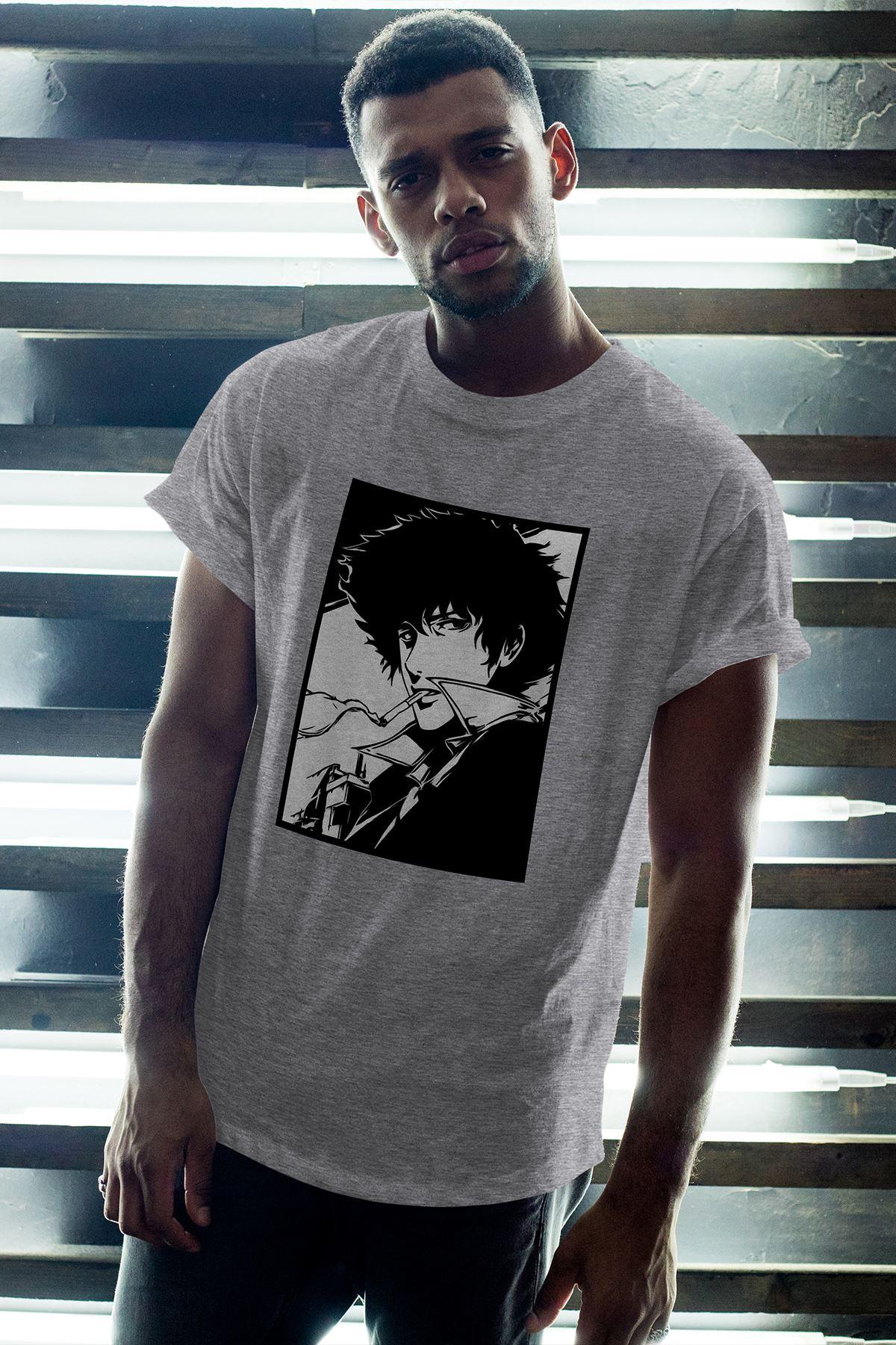 Anime Bebop 02 Gri Erkek Oversize Tshirt - Tişört