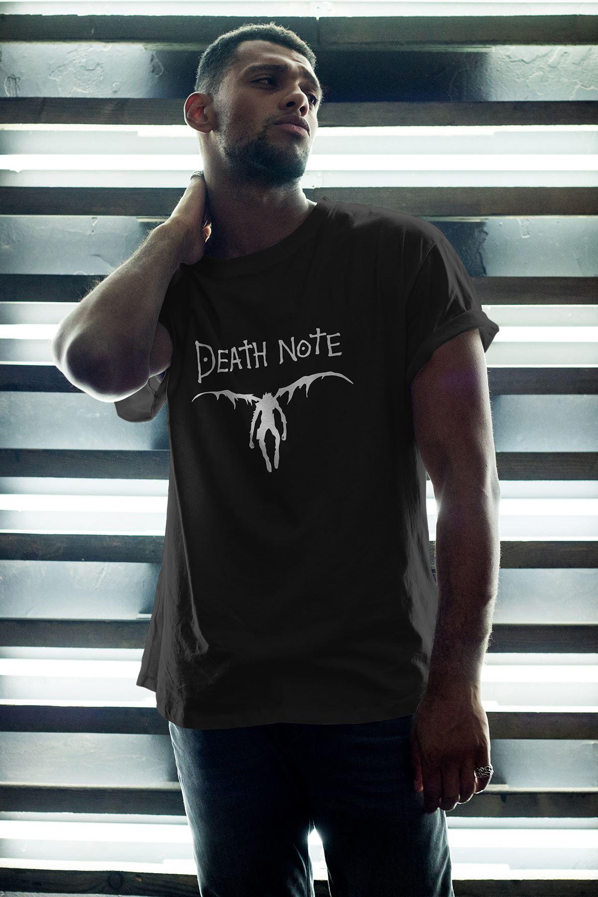 Anime Death Note 08 Siyah Erkek Oversize Tshirt - Tişört