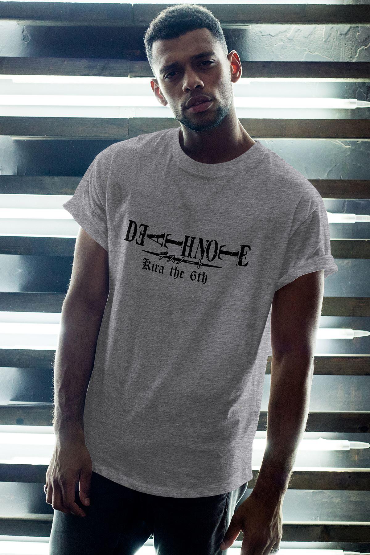 Anime Death Note Gri Erkek Oversize Tshirt - Tişört