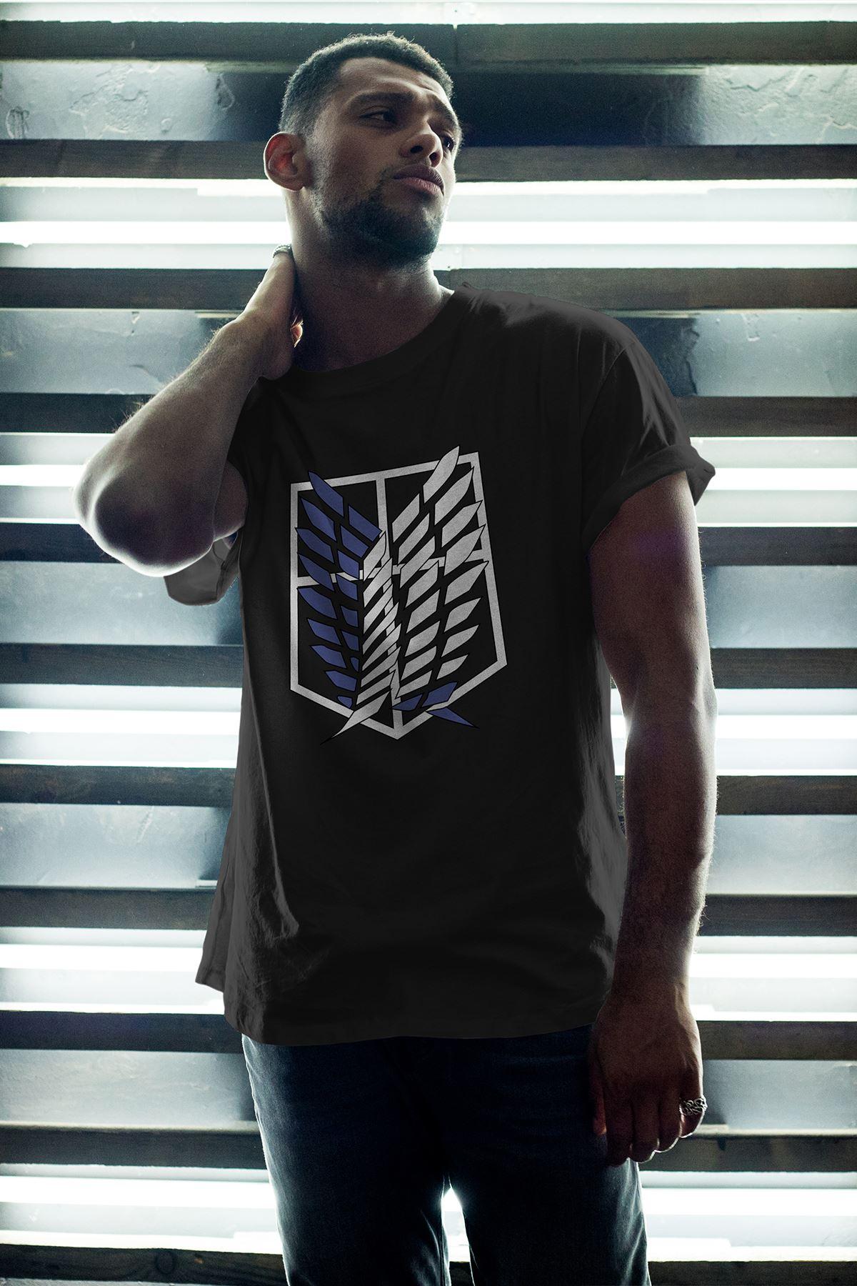 Anime Titan Siyah Erkek Oversize Tshirt - Tişört