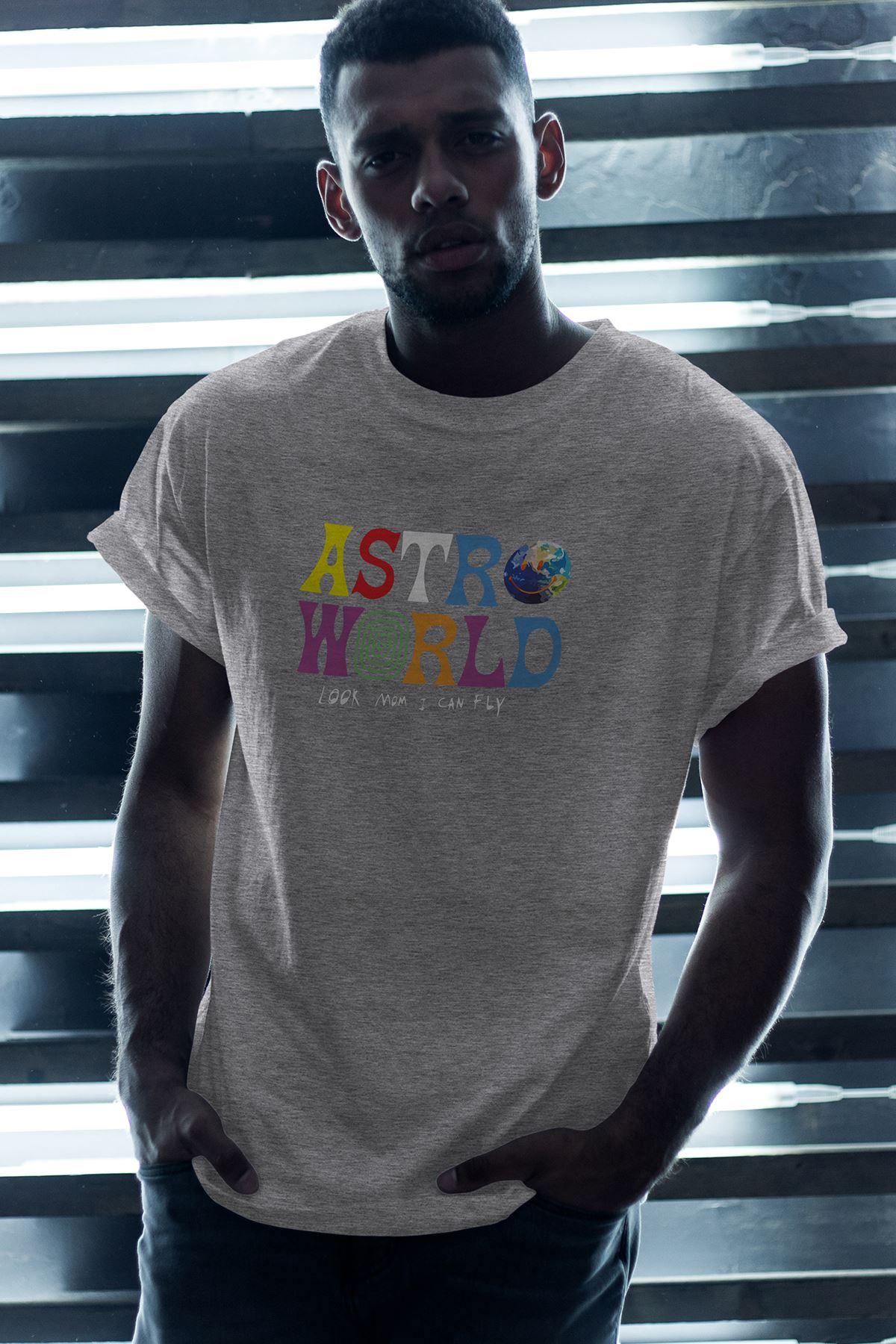 Astro World Gri Erkek Oversize Tshirt - Tişört