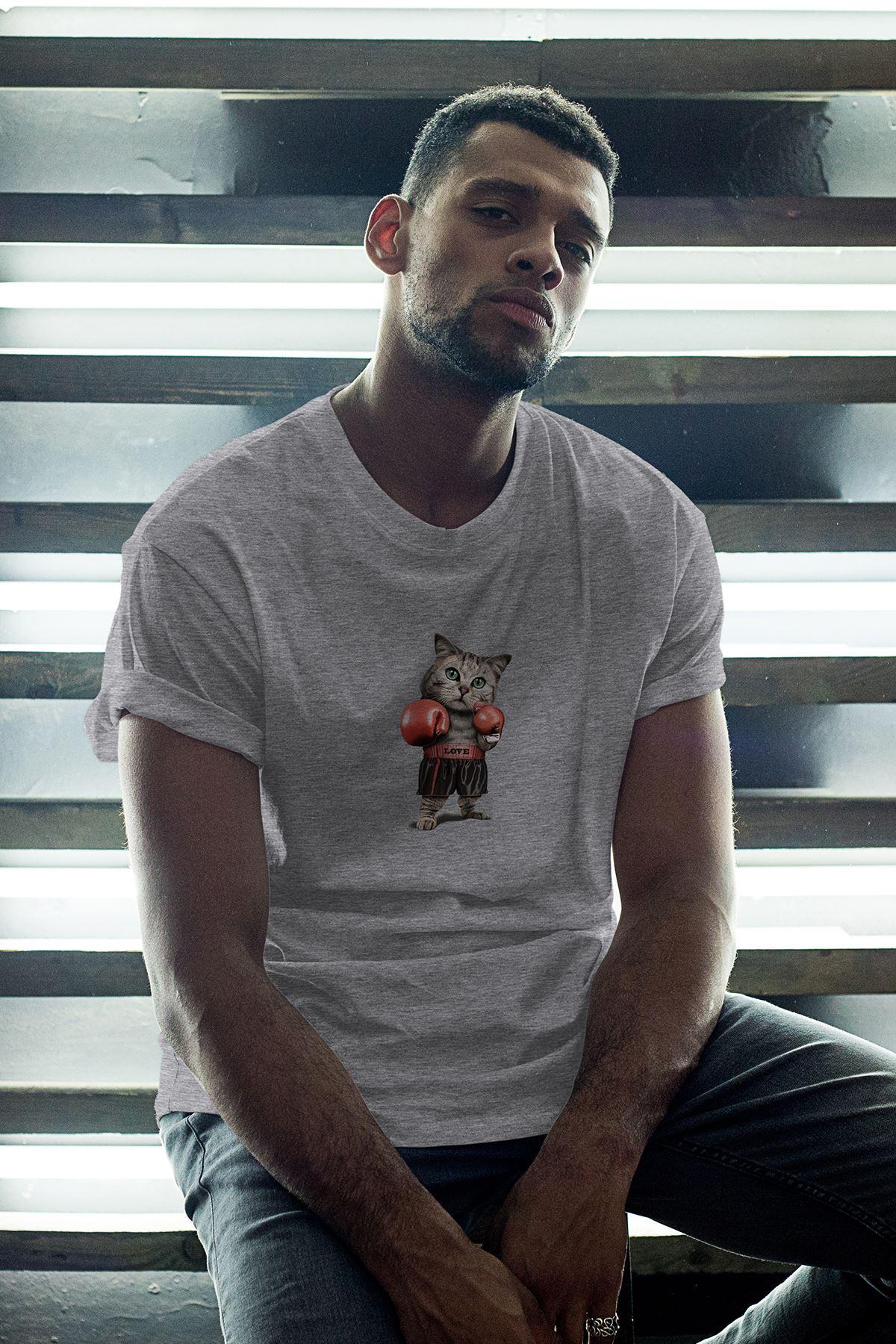 Boksör Kedi Gri Erkek Oversize Tshirt - Tişört