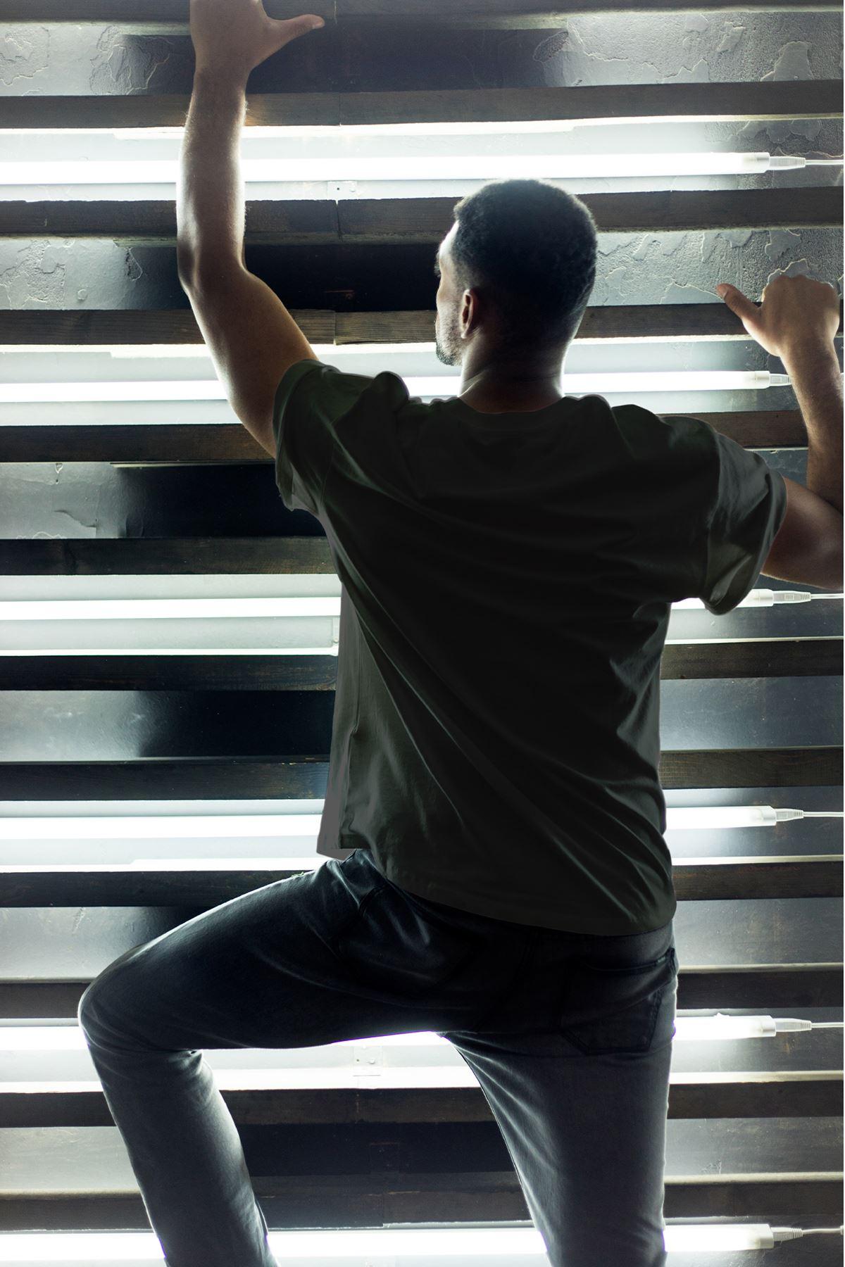 Boksör Kedi Siyah Erkek Oversize Tshirt - Tişört