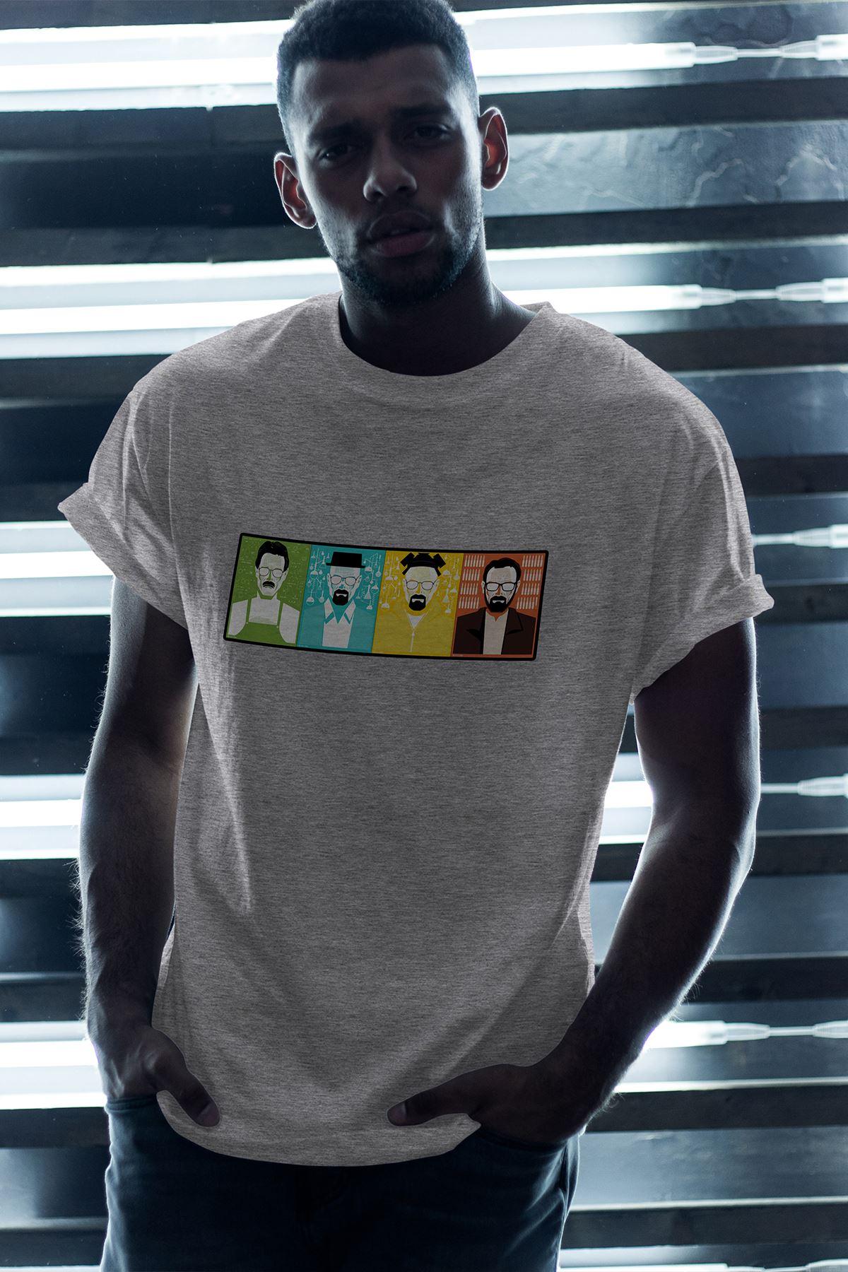 Breaking Bad Heisenberg 01 Gri Erkek Oversize Tshirt - Tişört