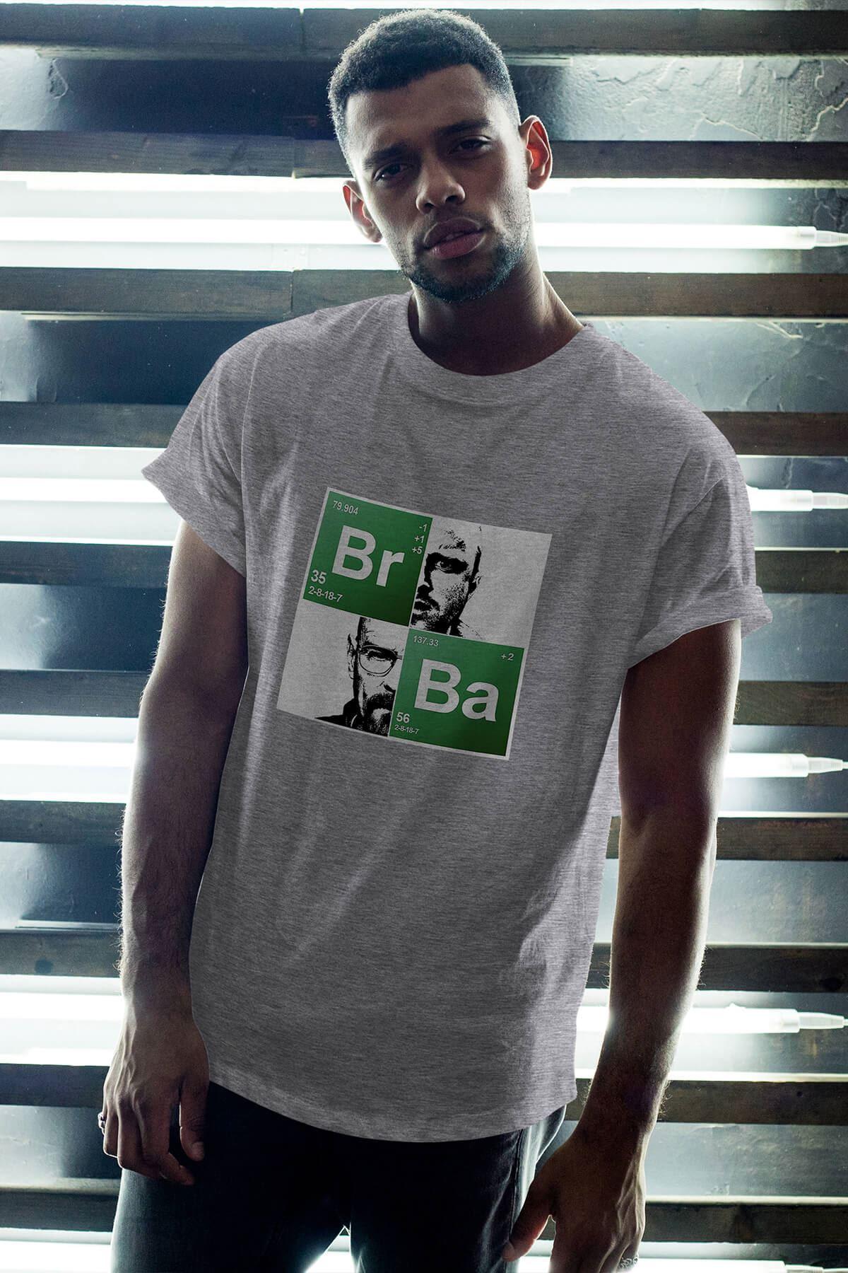 Breaking Bad BR-BA 19 Gri Erkek Oversize Tshirt - Tişört