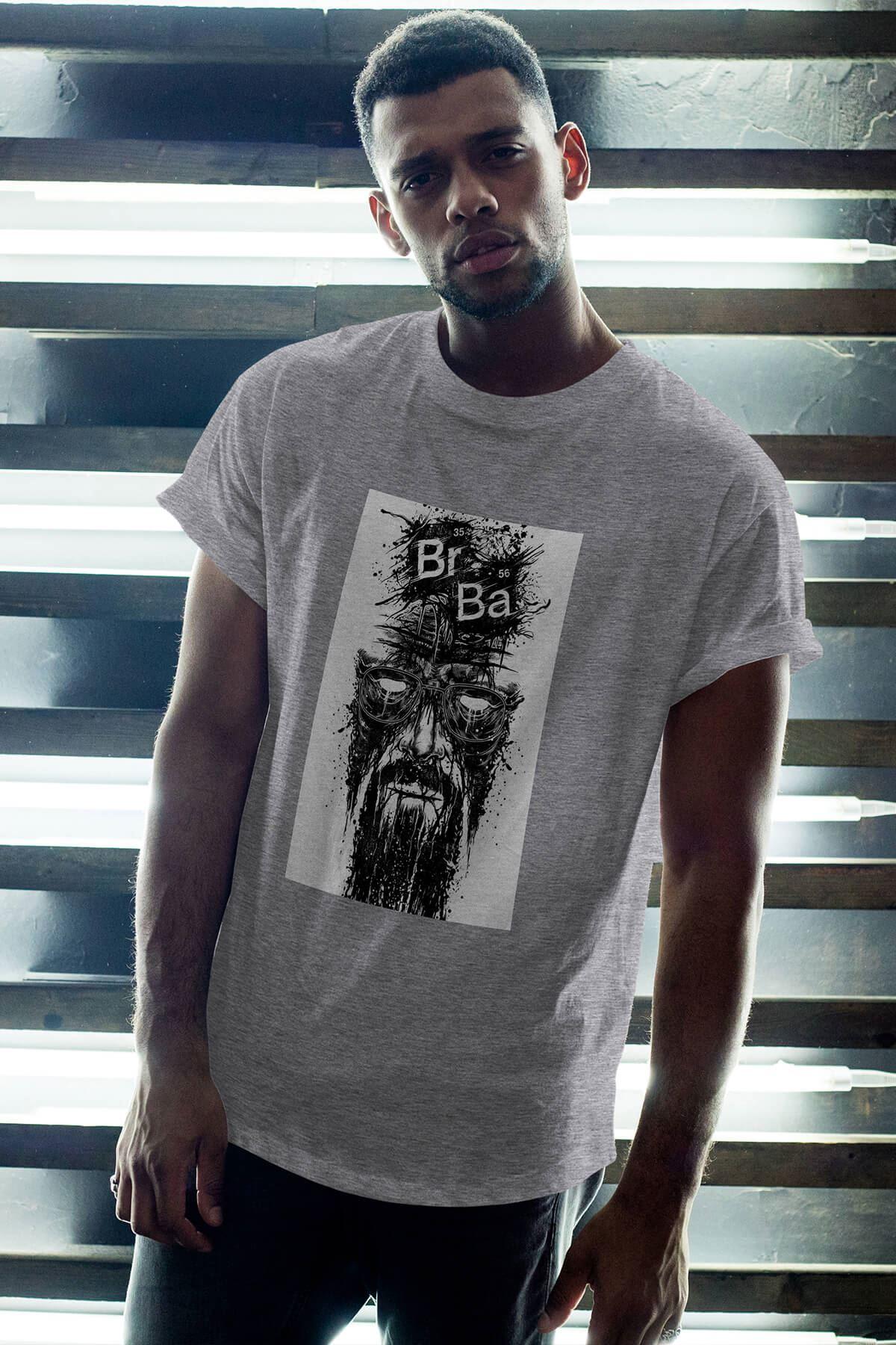 Breaking Bad Heisenberg 15 Gri Erkek Oversize Tshirt - Tişört