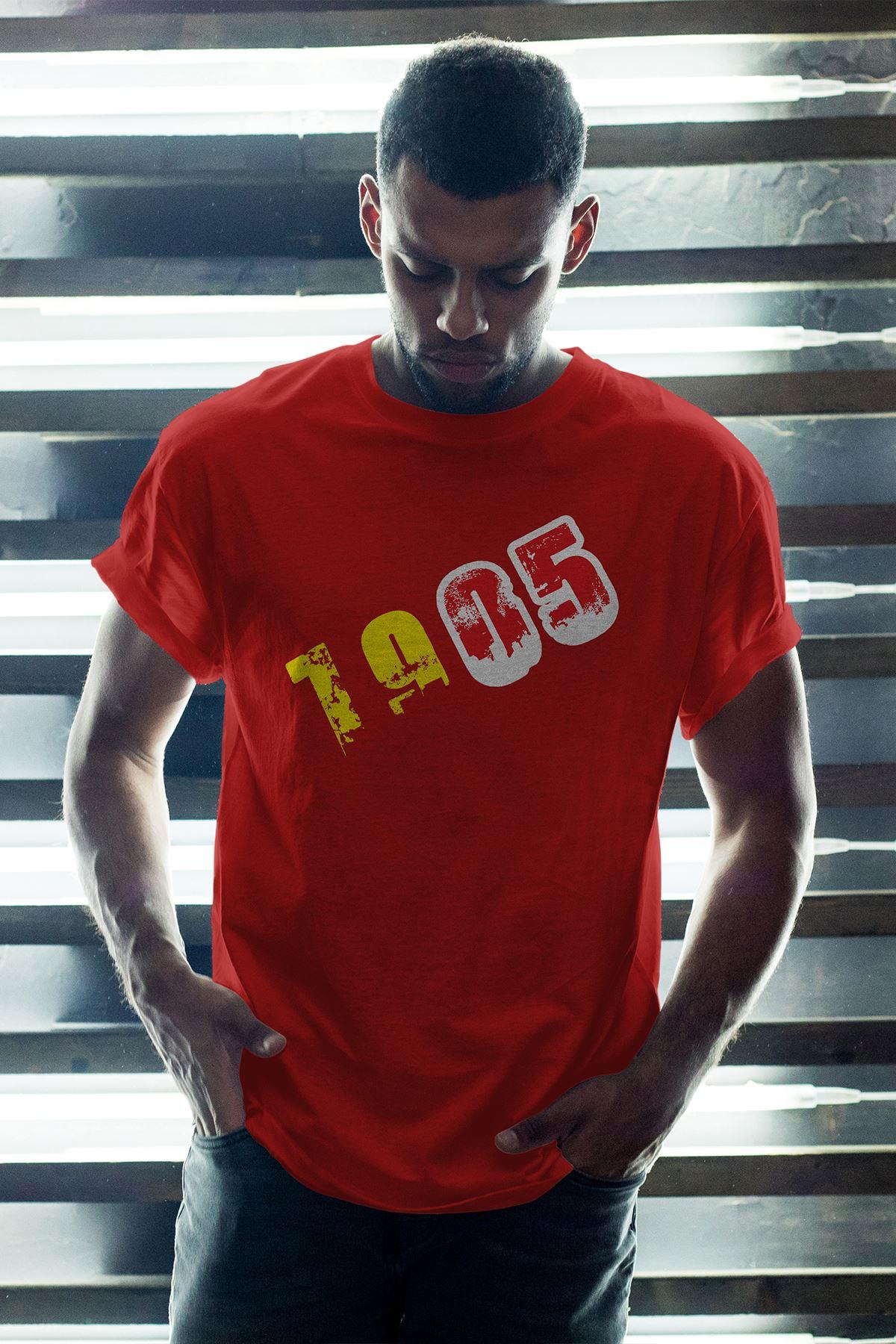 1905 GS Kırmızı Erkek Oversize Tshirt - Tişört