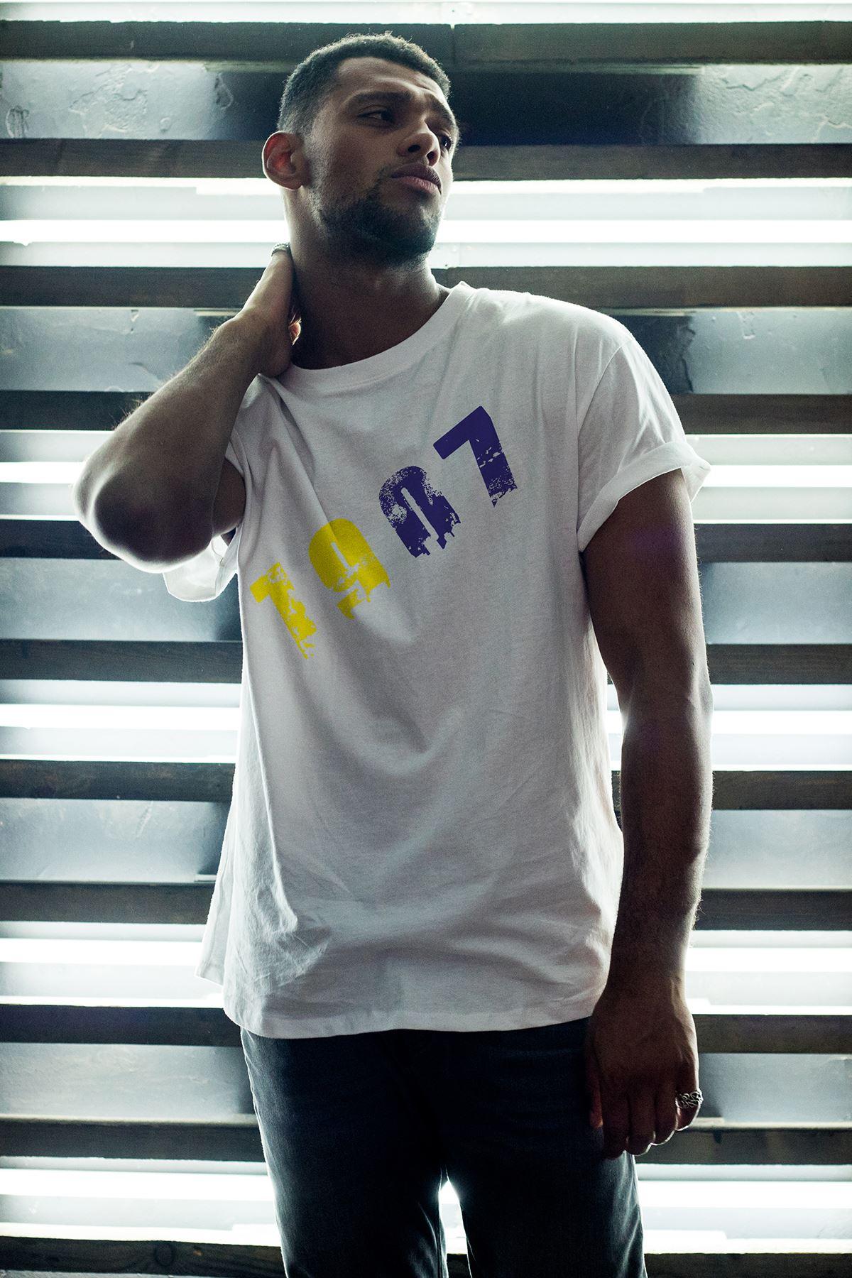 1907 FB Beyaz Erkek Oversize Tshirt - Tişört