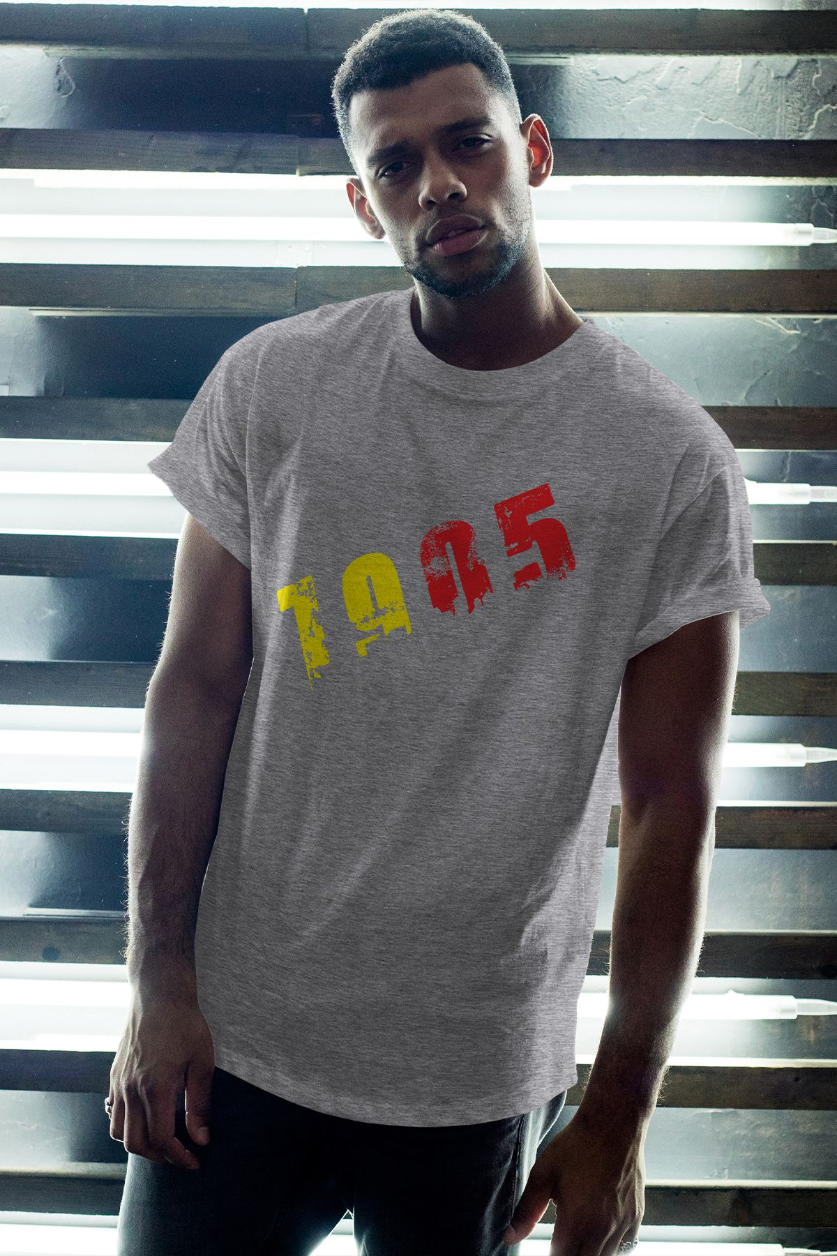 1905 GS Gri Erkek Oversize Tshirt - Tişört