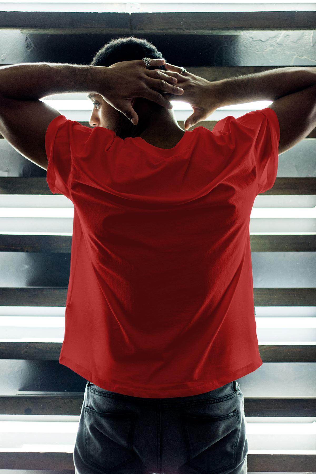 1905-2 GS Kırmızı Erkek Oversize Tshirt - Tişört