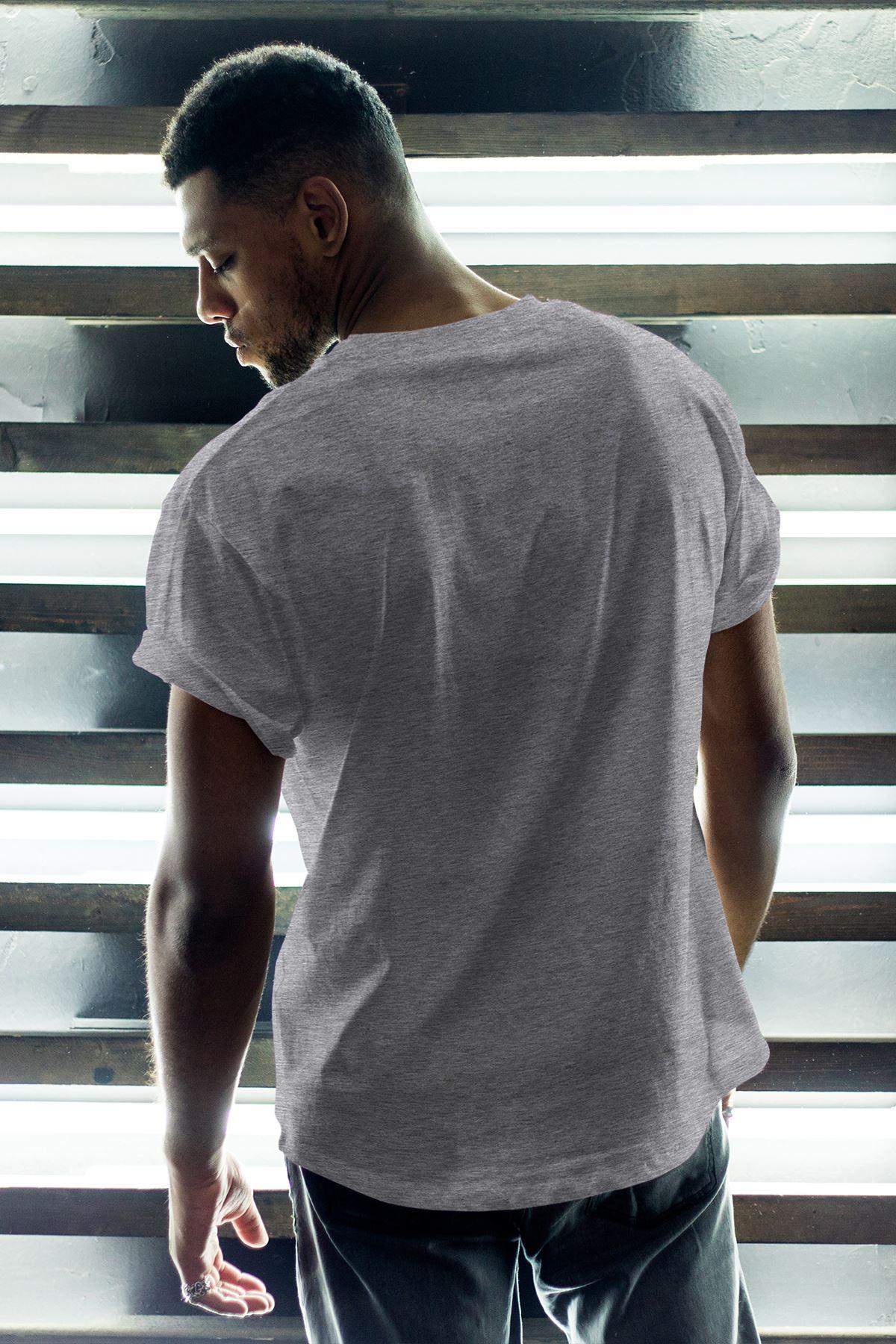 1907 FB Gri Erkek Oversize Tshirt - Tişört