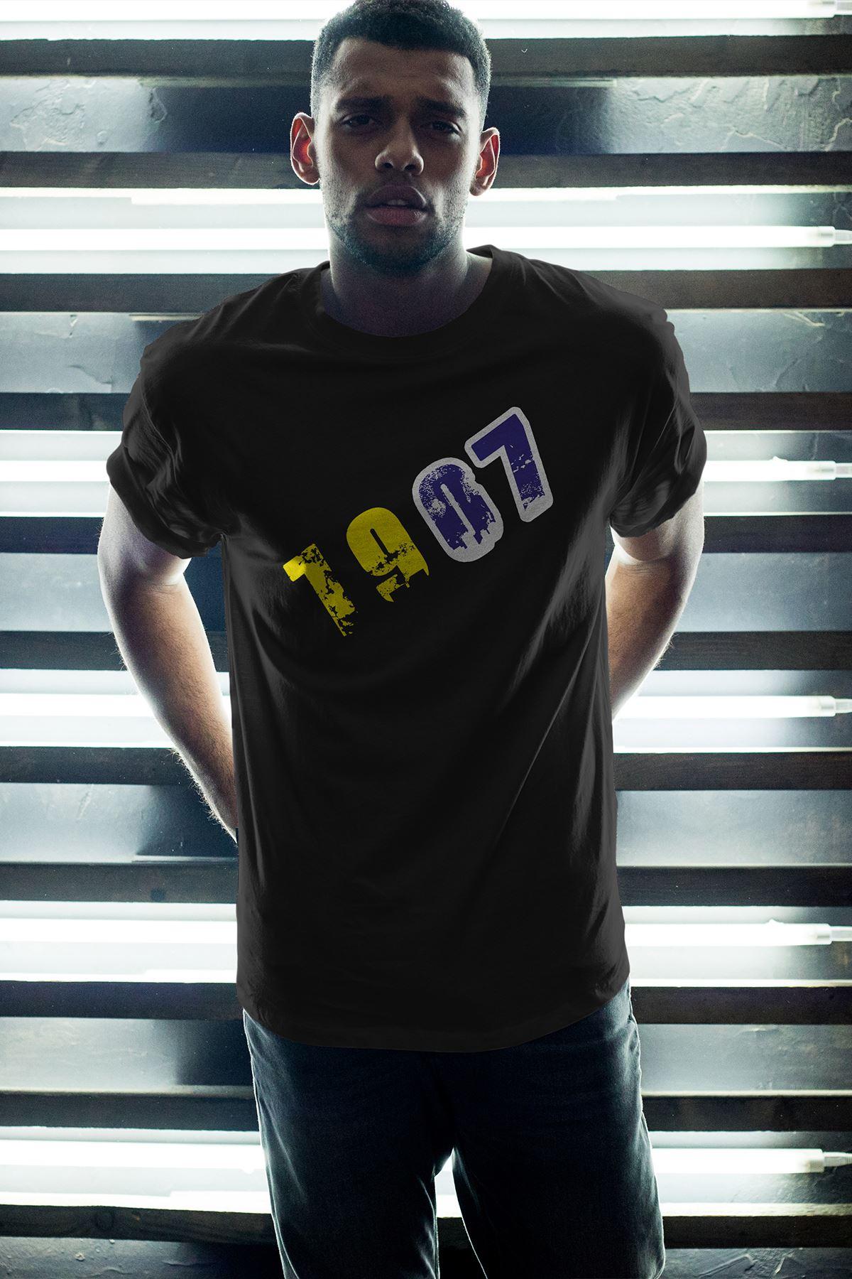 1907 FB Siyah Erkek Oversize Tshirt - Tişört