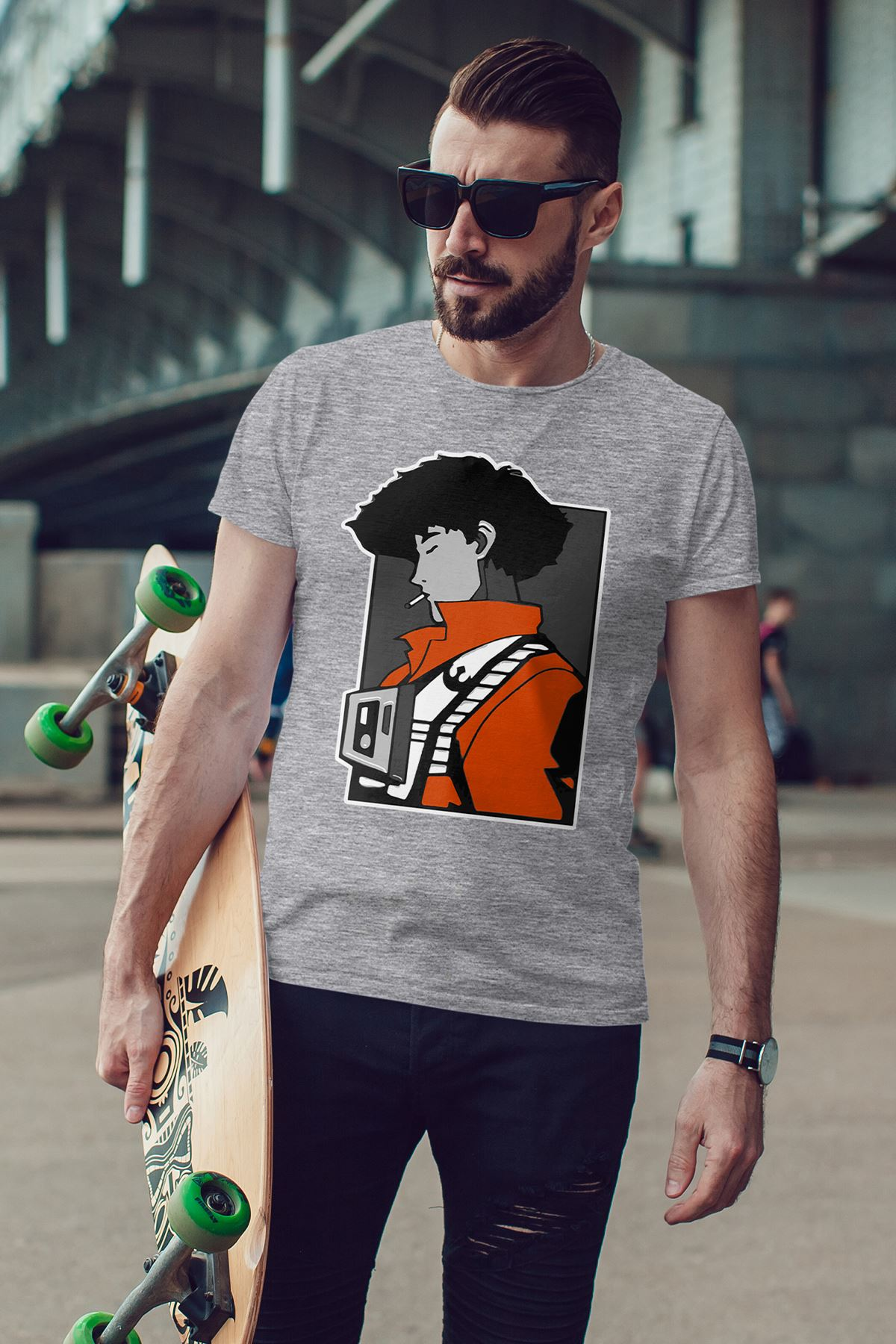 Anime Bebop Gri Erkek Tshirt - Tişört