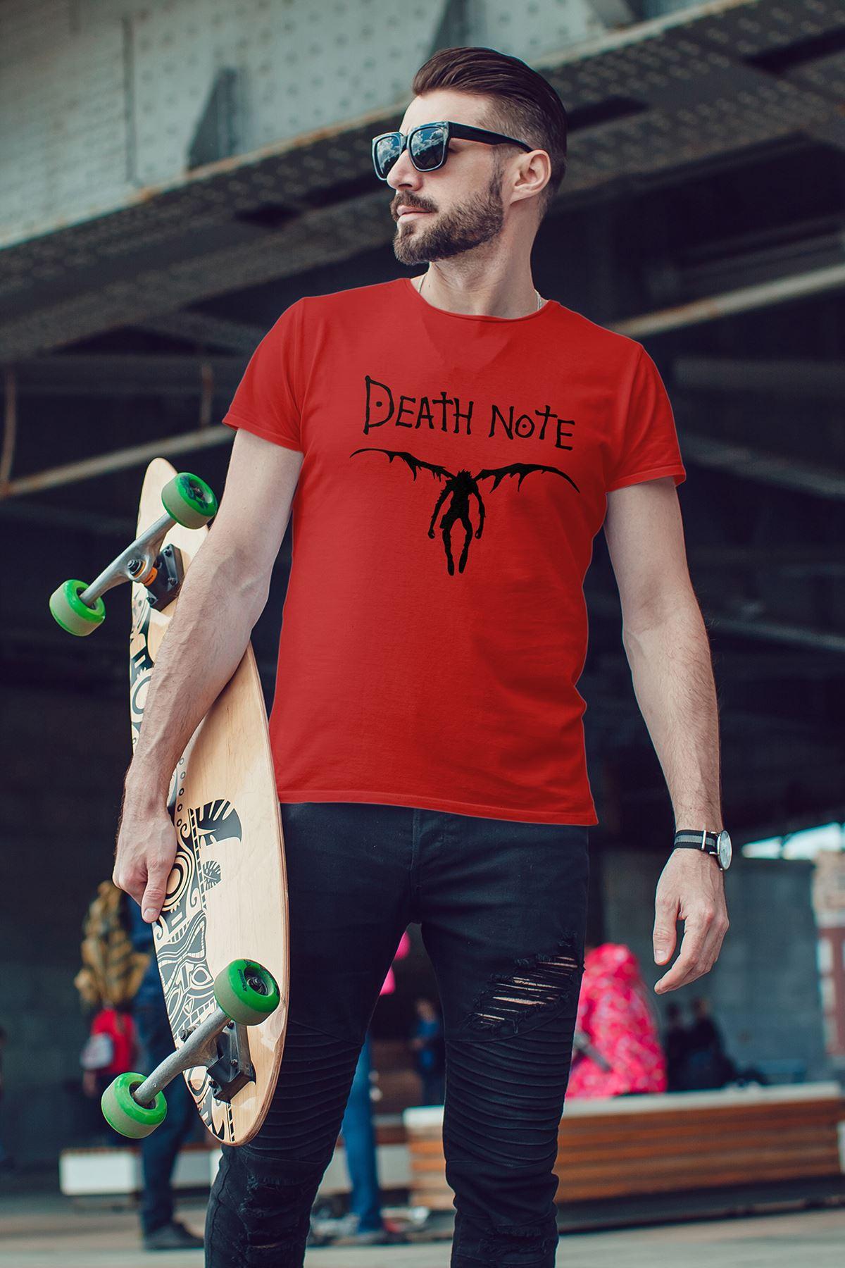 Anime Death Note 08 Kırmızı Erkek Tshirt - Tişört