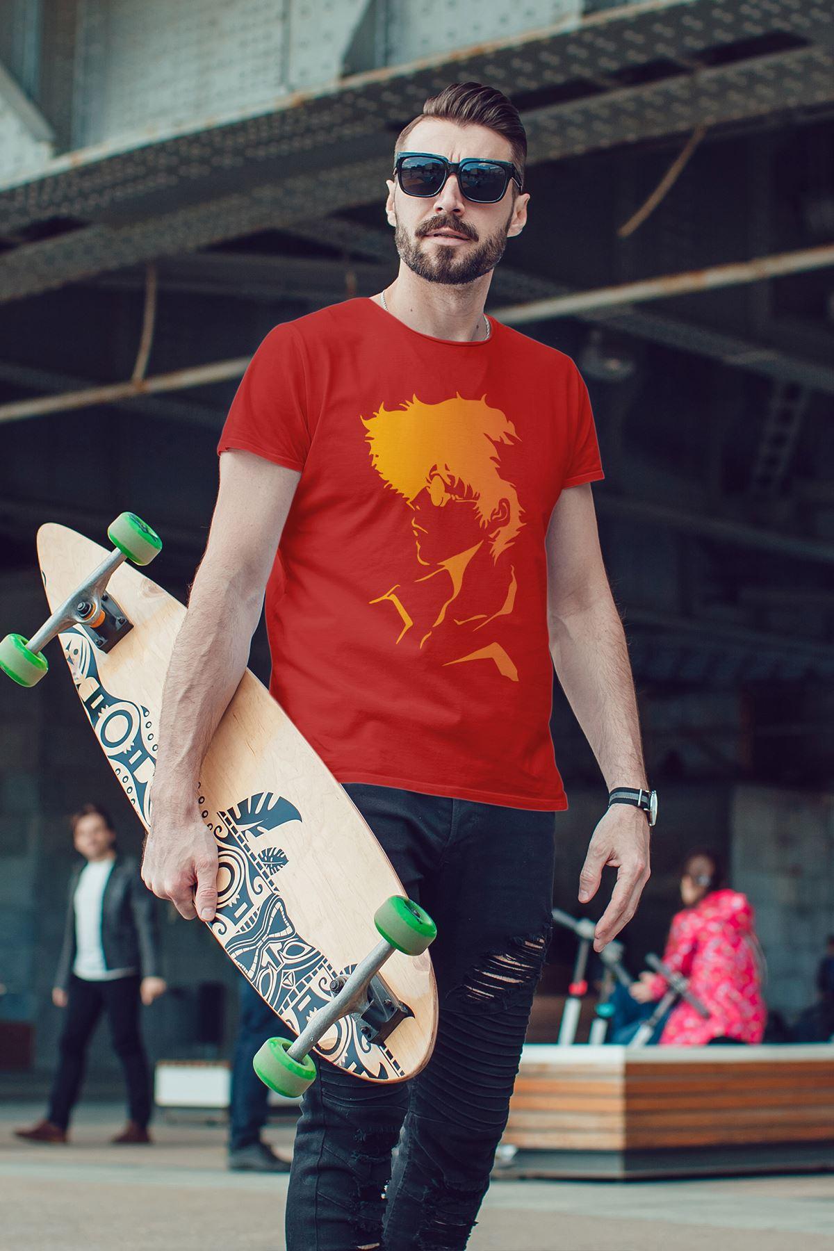 Anime Bebop 04 Kırmızı Erkek Tshirt - Tişört