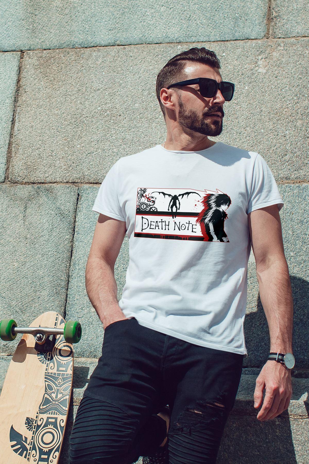 Anime Death Note 04 Beyaz Erkek Tshirt - Tişört