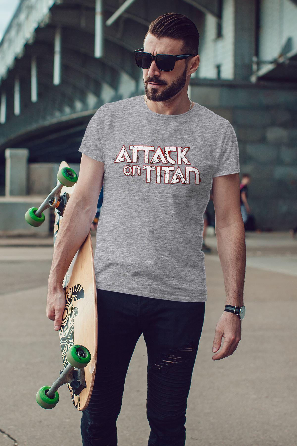 Attack on Titan Gri Erkek Tshirt - Tişört