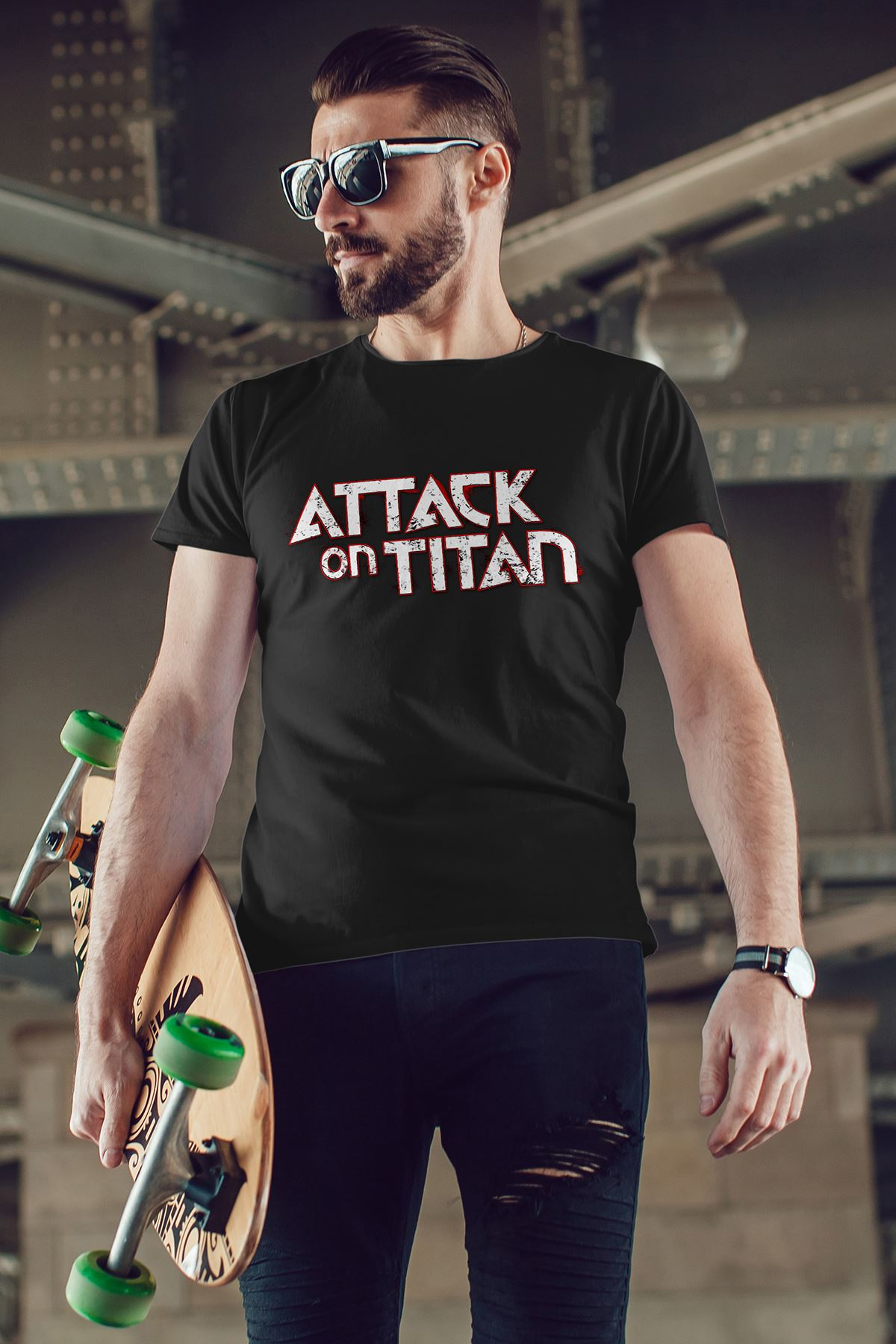 Attack on Titan Siyah Erkek Tshirt - Tişört