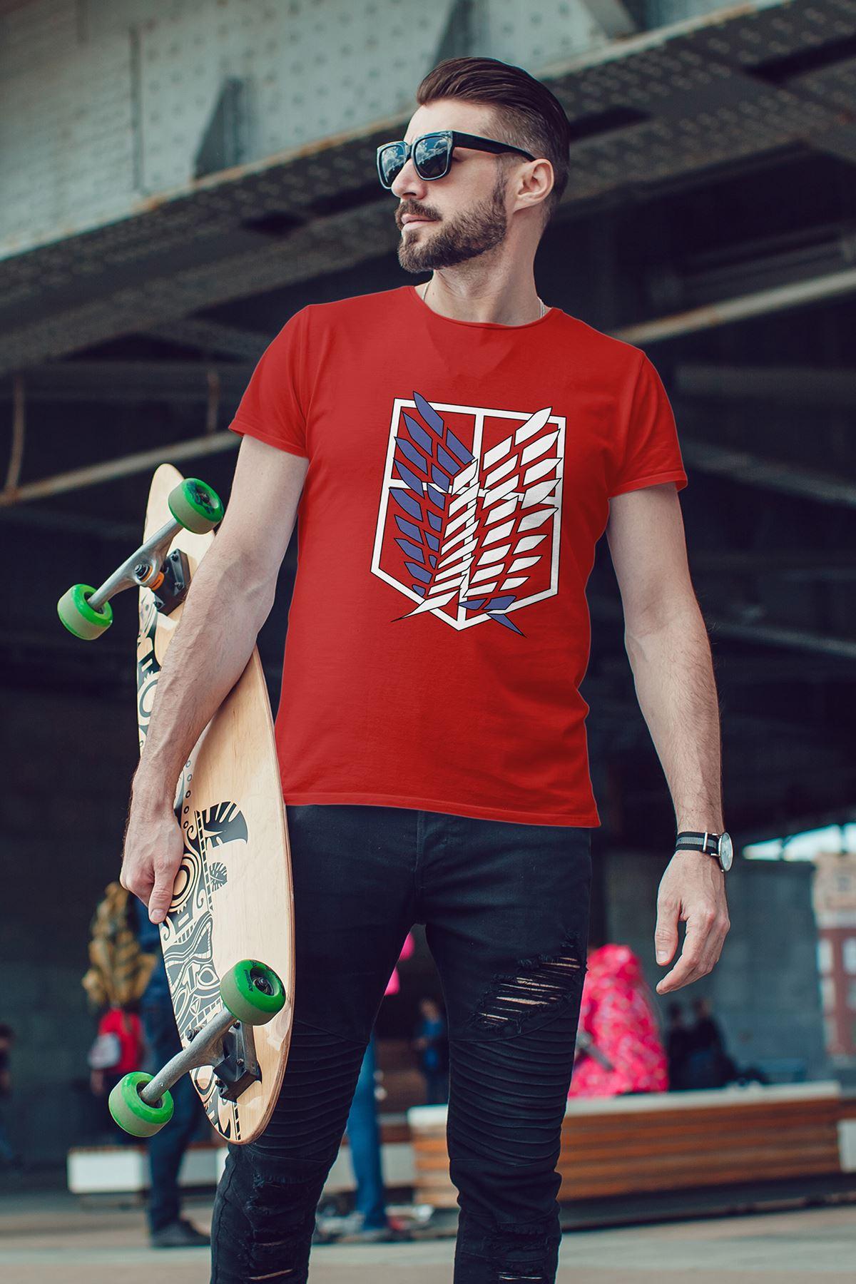 Anime Titan Kırmızı Erkek Tshirt - Tişört