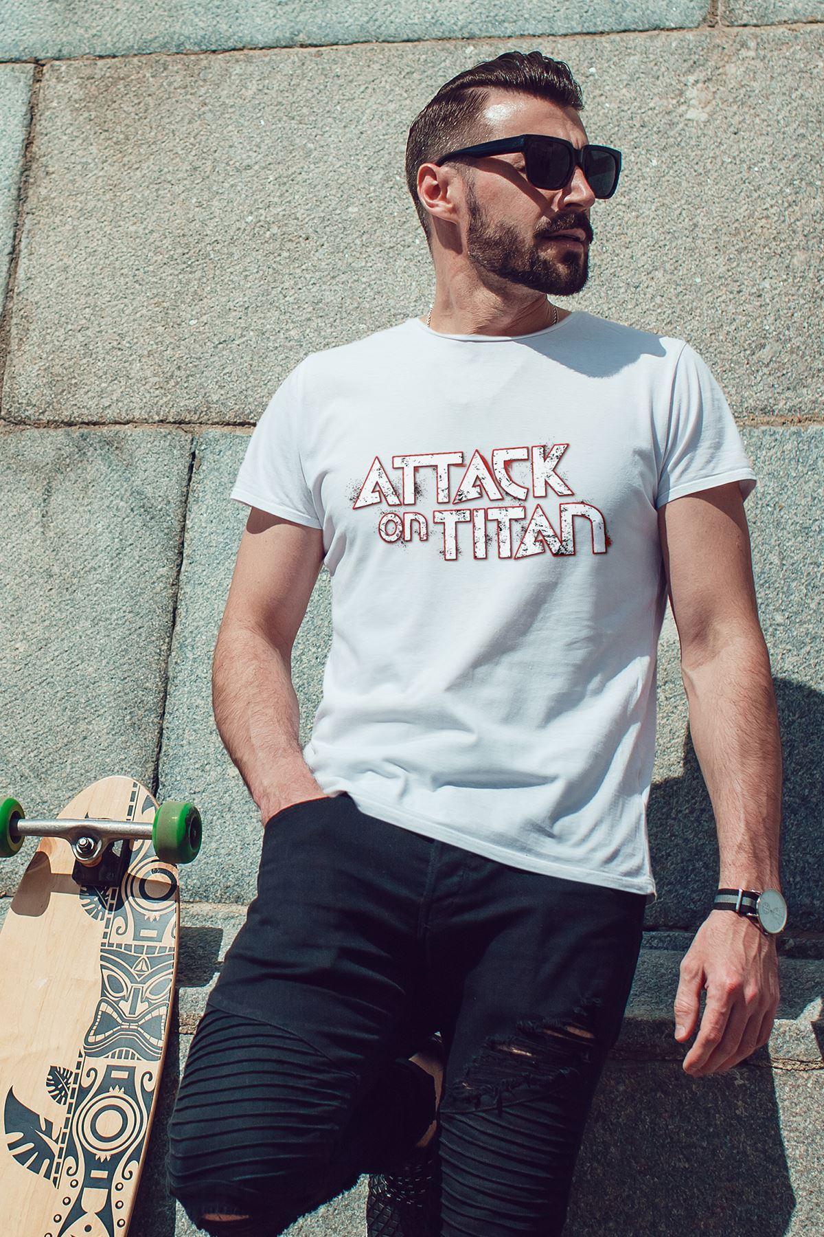 Attack on Titan Beyaz Erkek Tshirt - Tişört