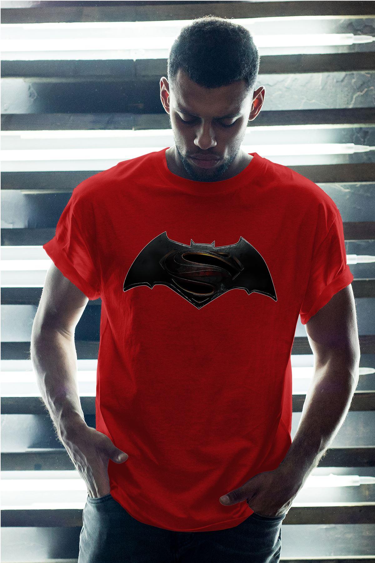 Batman Kırmızı Erkek Oversize Tshirt - Tişört