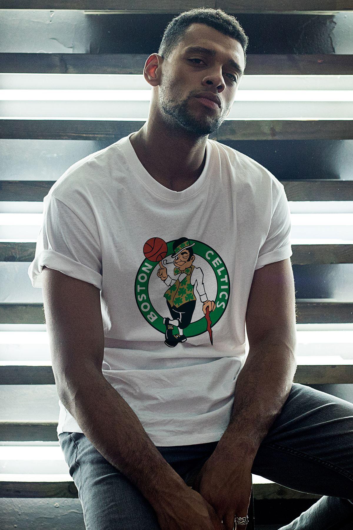 Boston Celtics  Beyaz Erkek Oversize Tshirt - Tişört