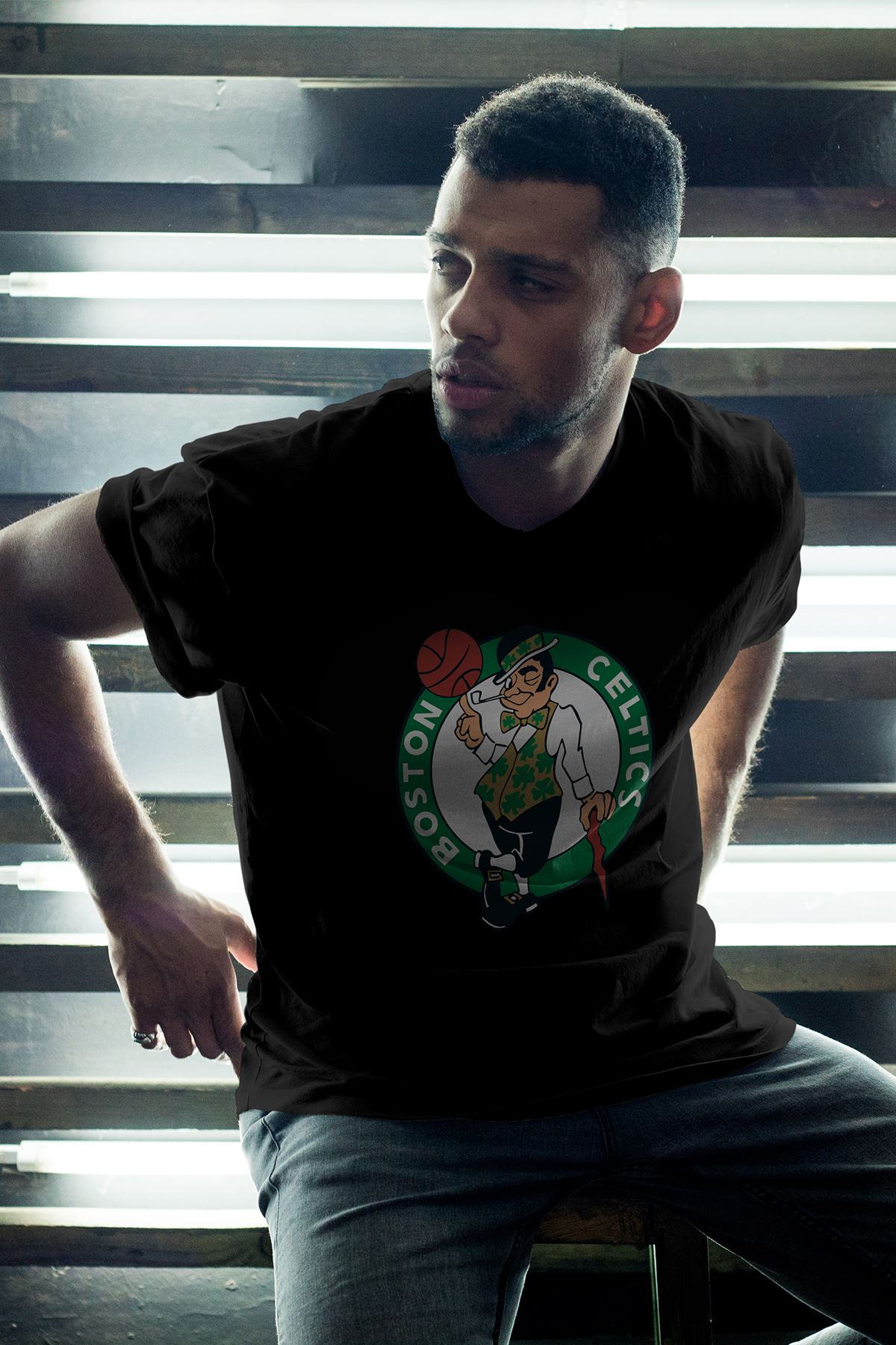Boston Celtics Siyah Erkek Oversize Tshirt - Tişört