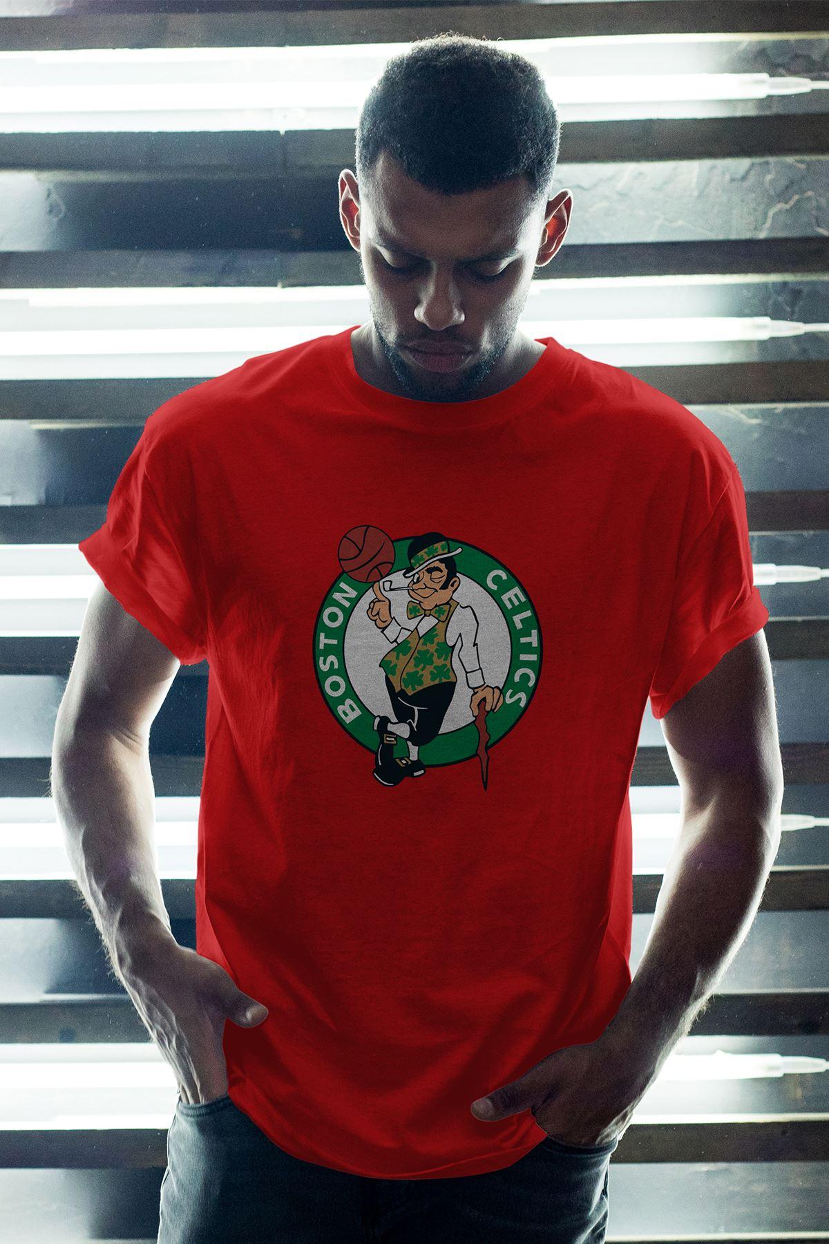 Boston Celtics Kırmızı Erkek Oversize Tshirt - Tişört