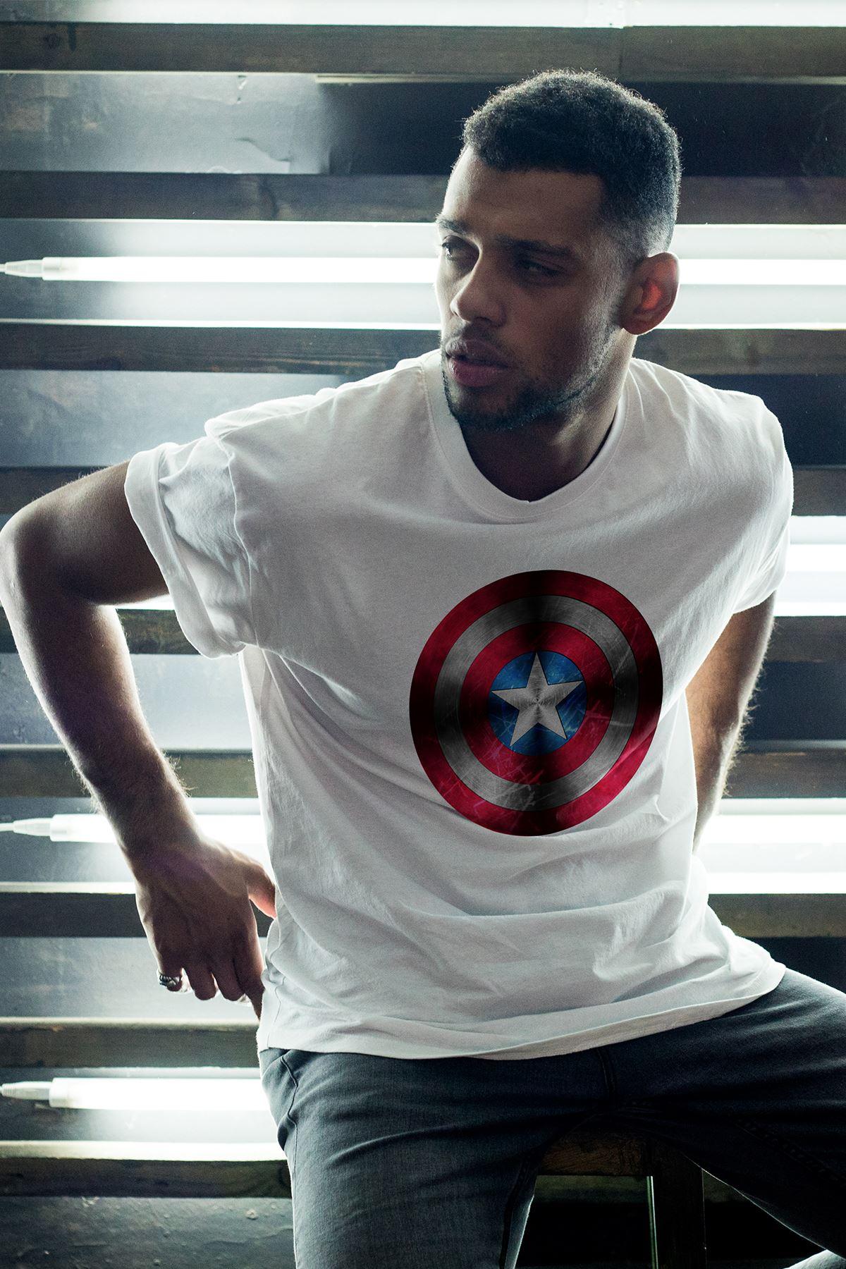 Captain America Beyaz Erkek Oversize Tshirt - Tişört