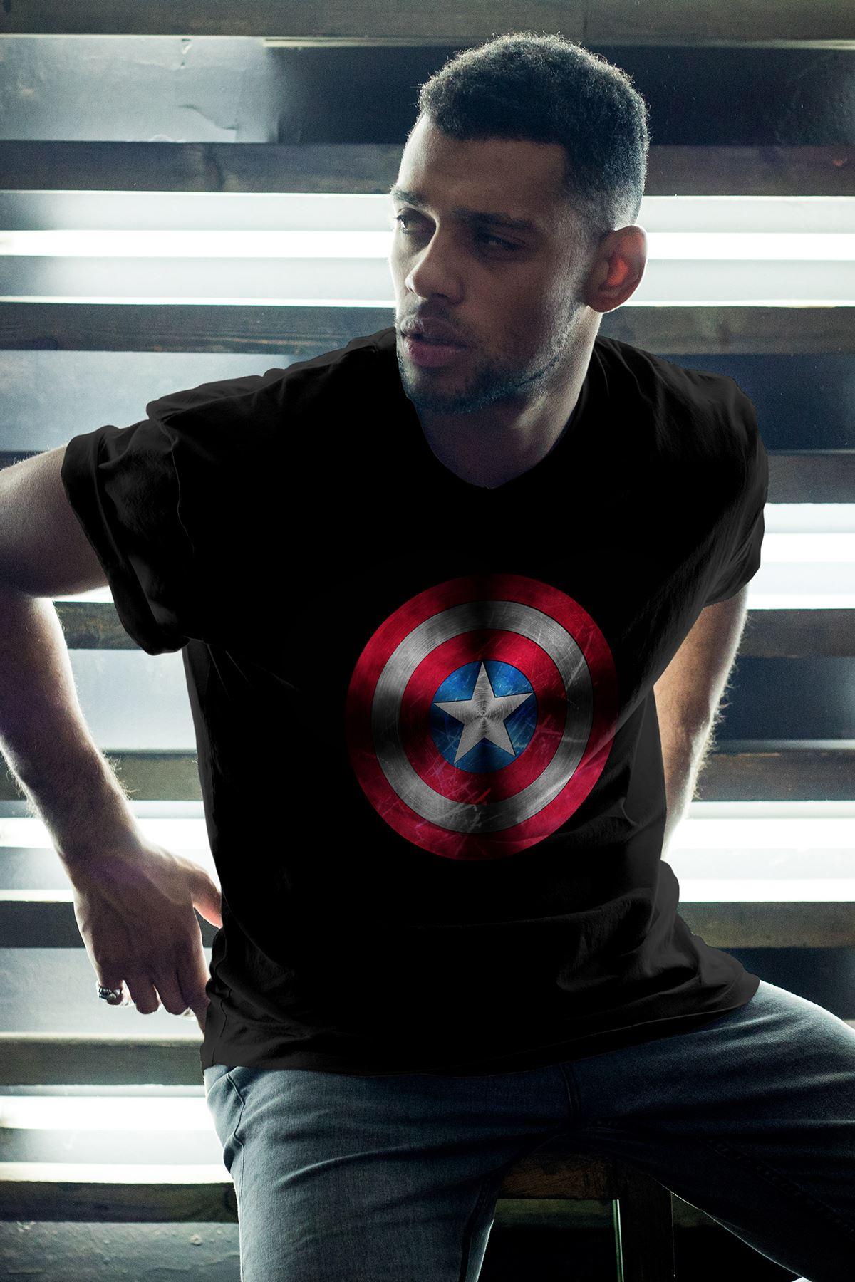 Captain America Siyah Erkek Oversize Tshirt - Tişört