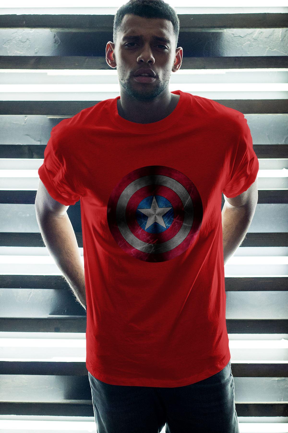 Captain America Kırmızı Erkek Oversize Tshirt - Tişört