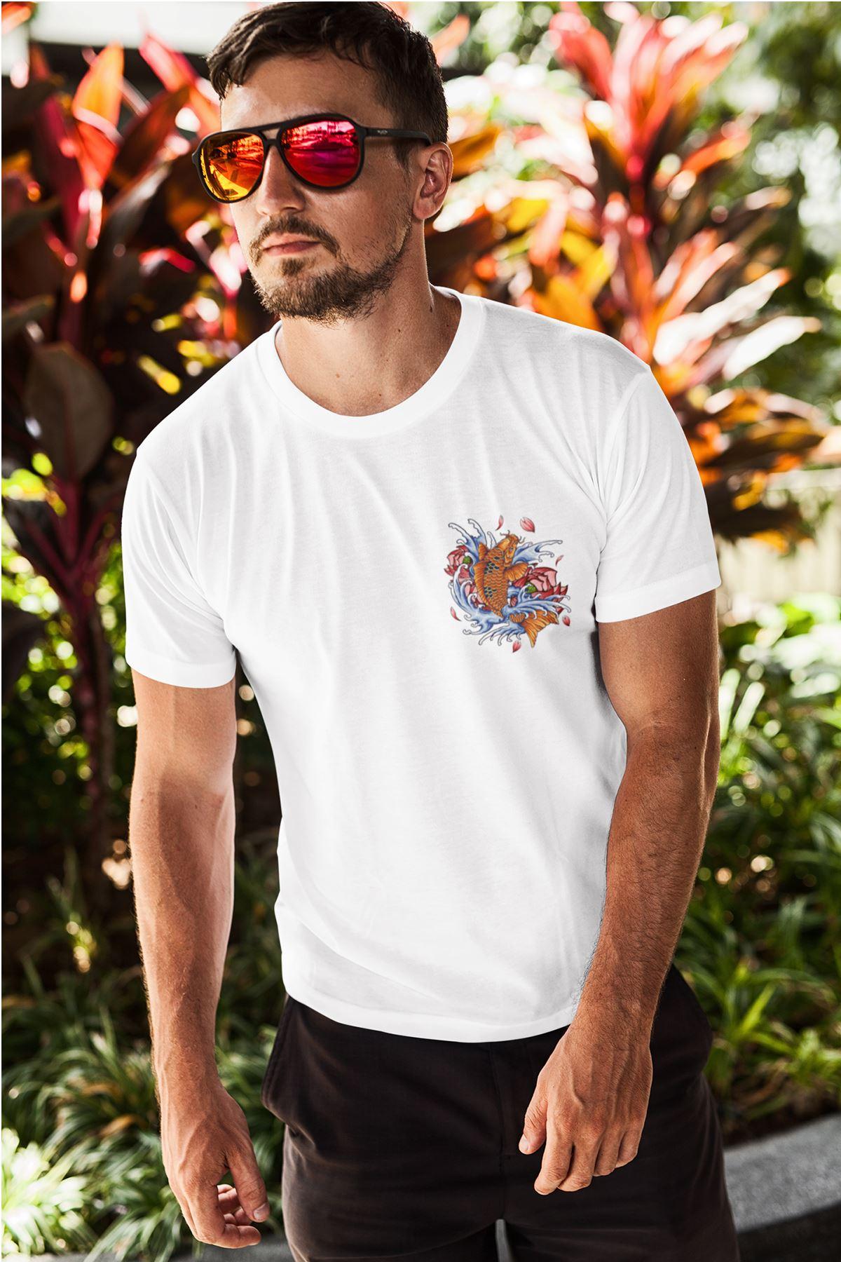 Fish Tattoo 02 Beyaz Erkek Tshirt - Tişört