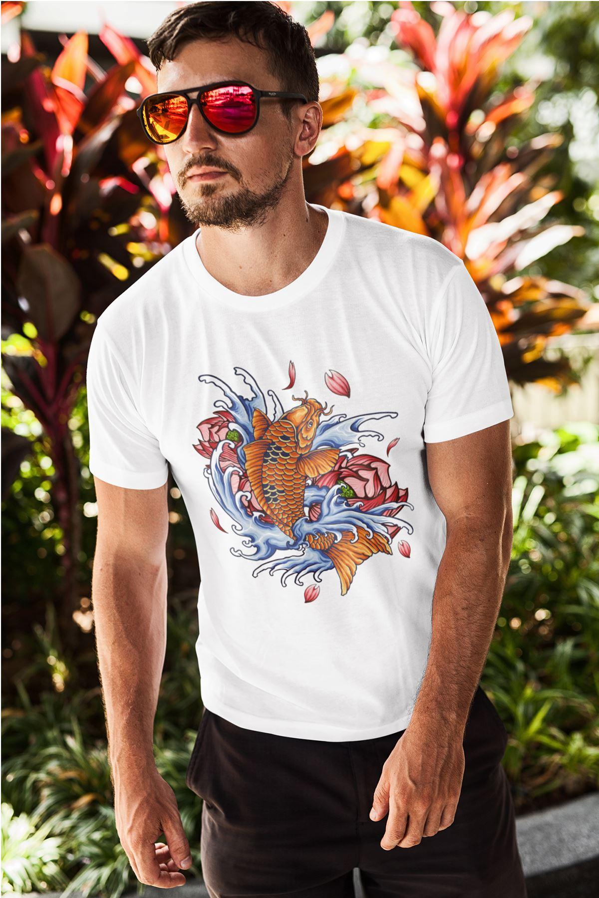 Fish Tattoo Beyaz Erkek Tshirt - Tişört