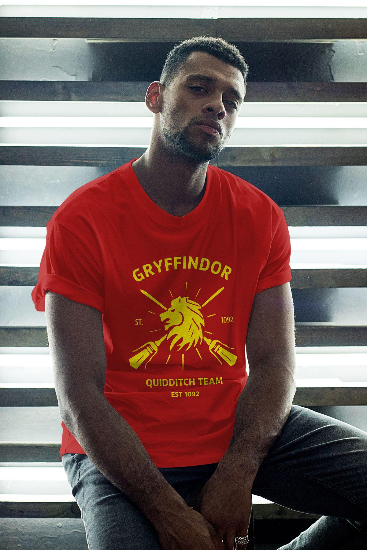 Gryffindor Kırmızı Erkek Oversize Tshirt - Tişört