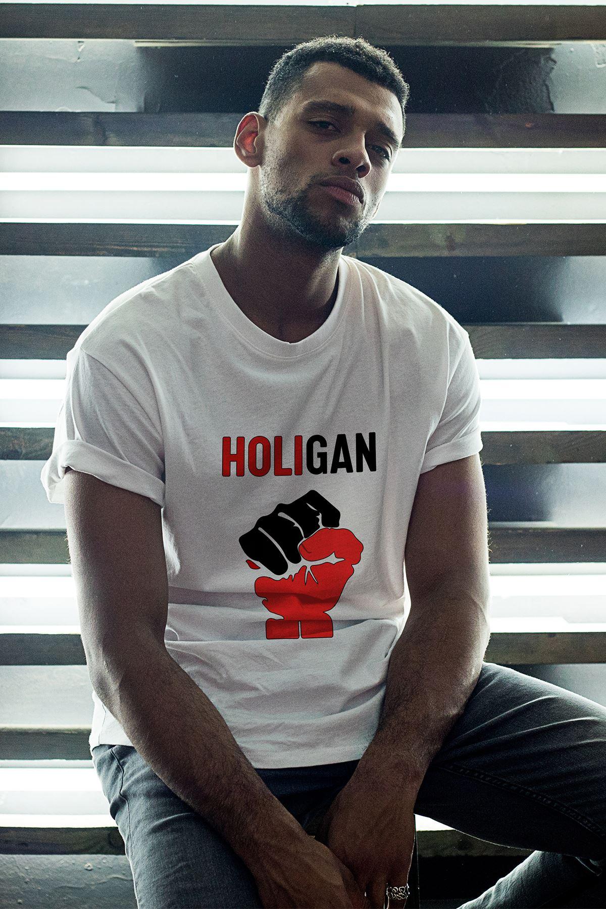 Holigan Beyaz Erkek Oversize Tshirt - Tişört